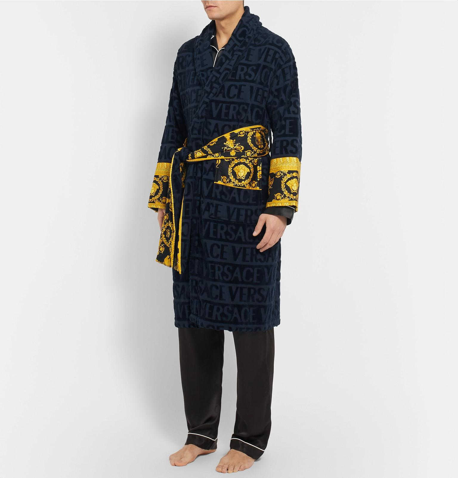 224a3dce06 Versace I Love Baroque Logo Jacquard Cotton Bathrobe in Blue for Men ...