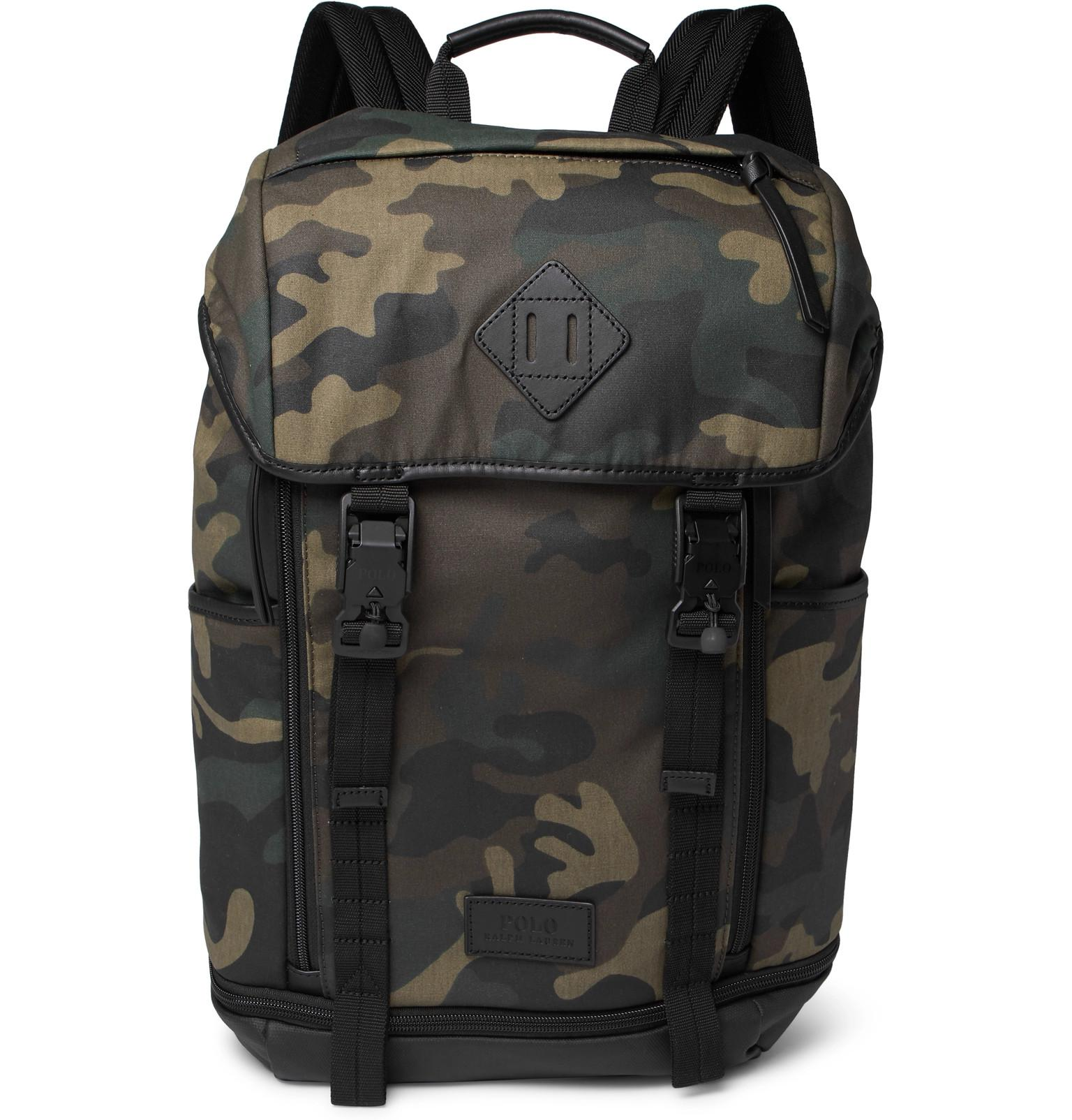 b27b4dc62f Polo Ralph Lauren - Green Camouflage-print Leather-trimmed Cotton-canvas  Backpack for