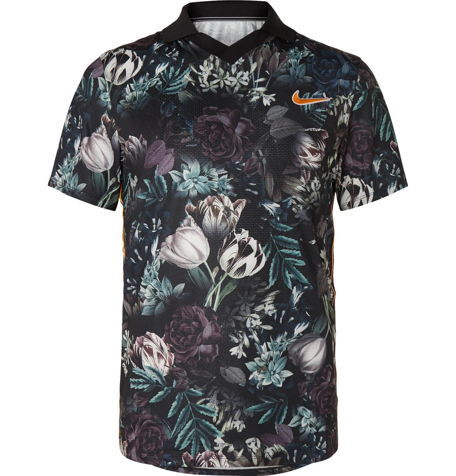 e192634b8 Nike - Black Nikecourt Slam Striped Floral-print Dri-fit Tennis Polo Shirt  for. View fullscreen