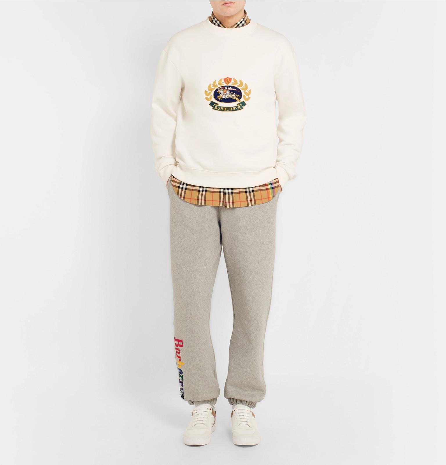 cbfd06299ebf Burberry Embroidered Fleece-back Cotton-blend Jersey Sweatshirt in ...