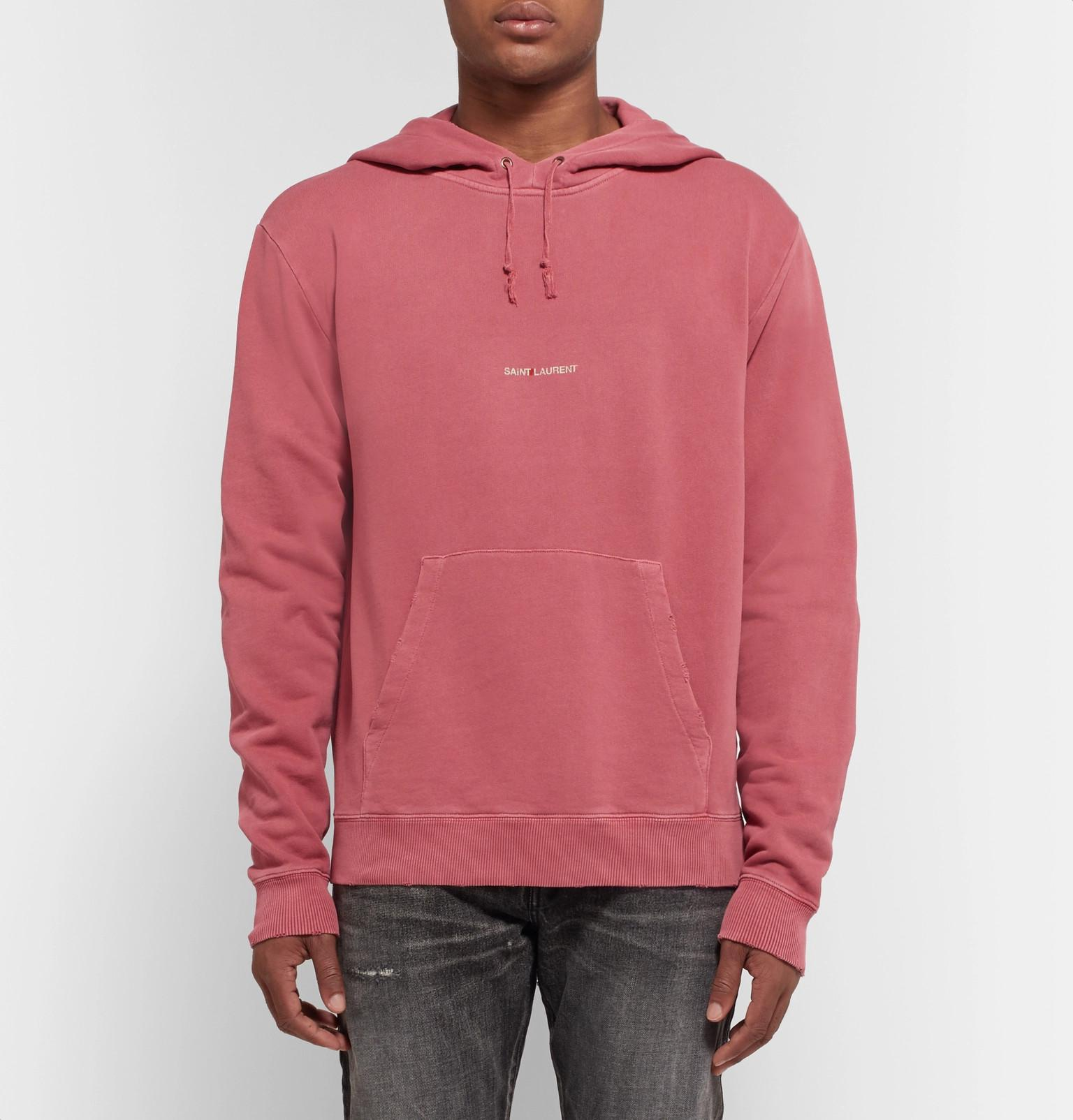 c8096f6ced3 Saint Laurent Logo-print Distressed Loopback Cotton-jersey Hoodie in ...