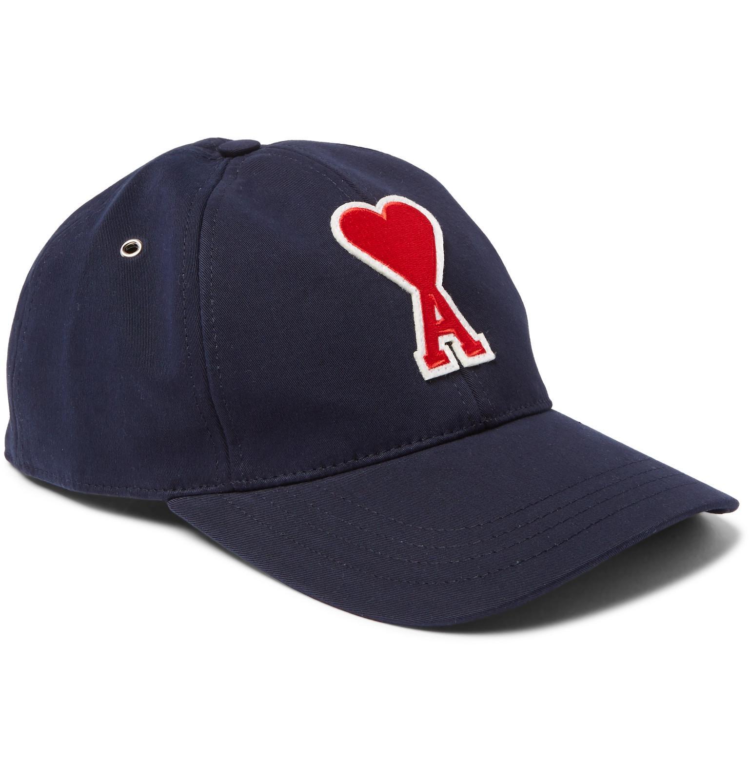 def8a8c490c Lyst - Ami Appliquéd Cotton-twill Baseball Cap in Blue for Men