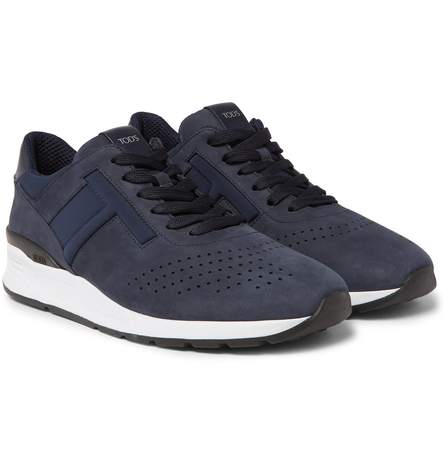 Tod's Leather-Trimmed Nubuck and Neoprene Sneakers 2014 online sale shop for kwR35N16zB