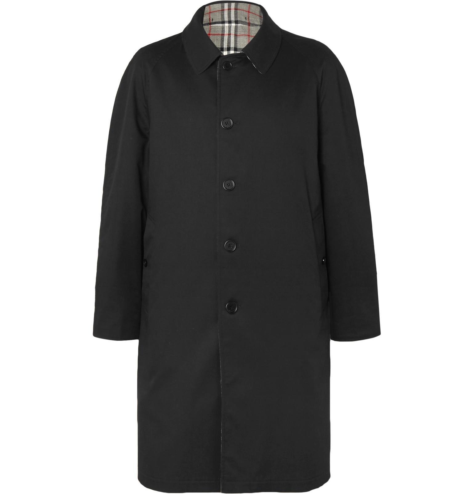 657fadd4e503 Burberry - Black Reversible Checked Wool And Gabardine Coat for Men - Lyst