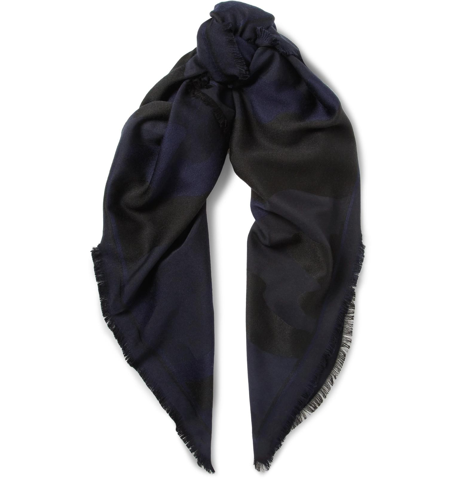 Fringed Striped Cotton Scarf Berluti jwjABE