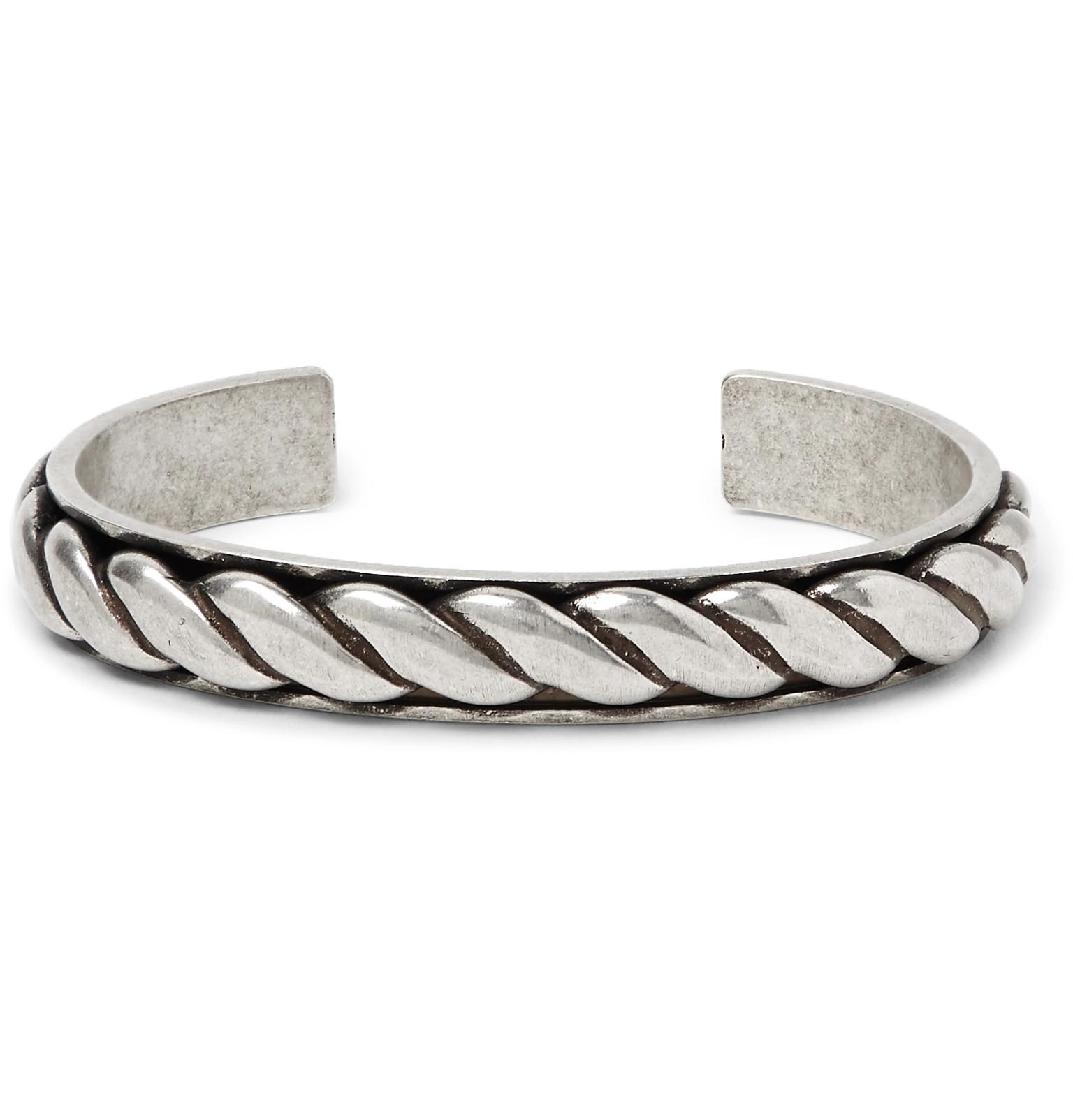 10c5bbf1631 Saint Laurent Burnished Silver-tone Cuff in Metallic for Men - Lyst