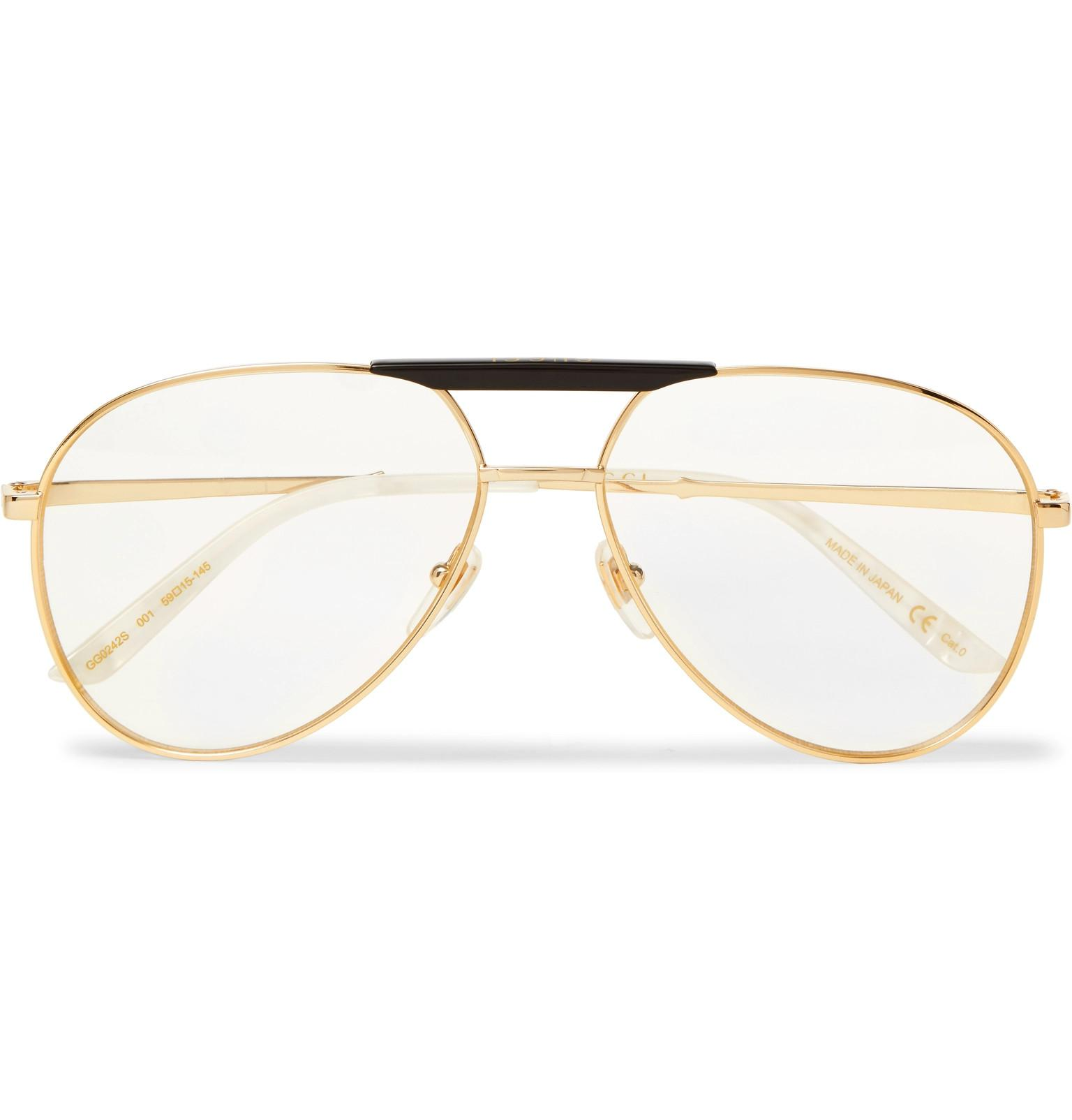 a38a1fe39addb Gucci Endura Aviator-style Acetate And Gold-tone Optical Glasses in ...