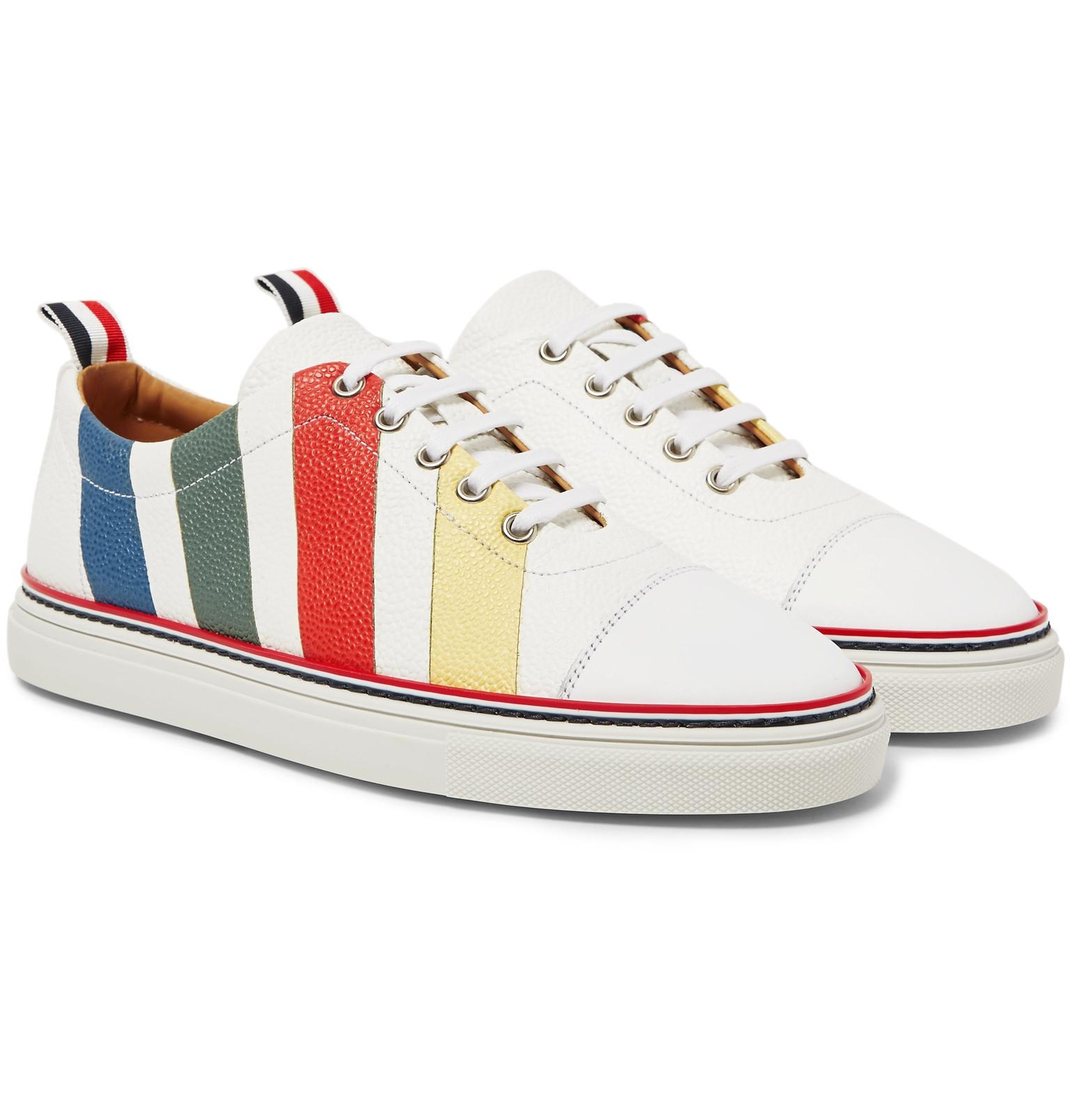 Striped Suede And Leather Sneakers Thom Browne GeSUJt7Cb