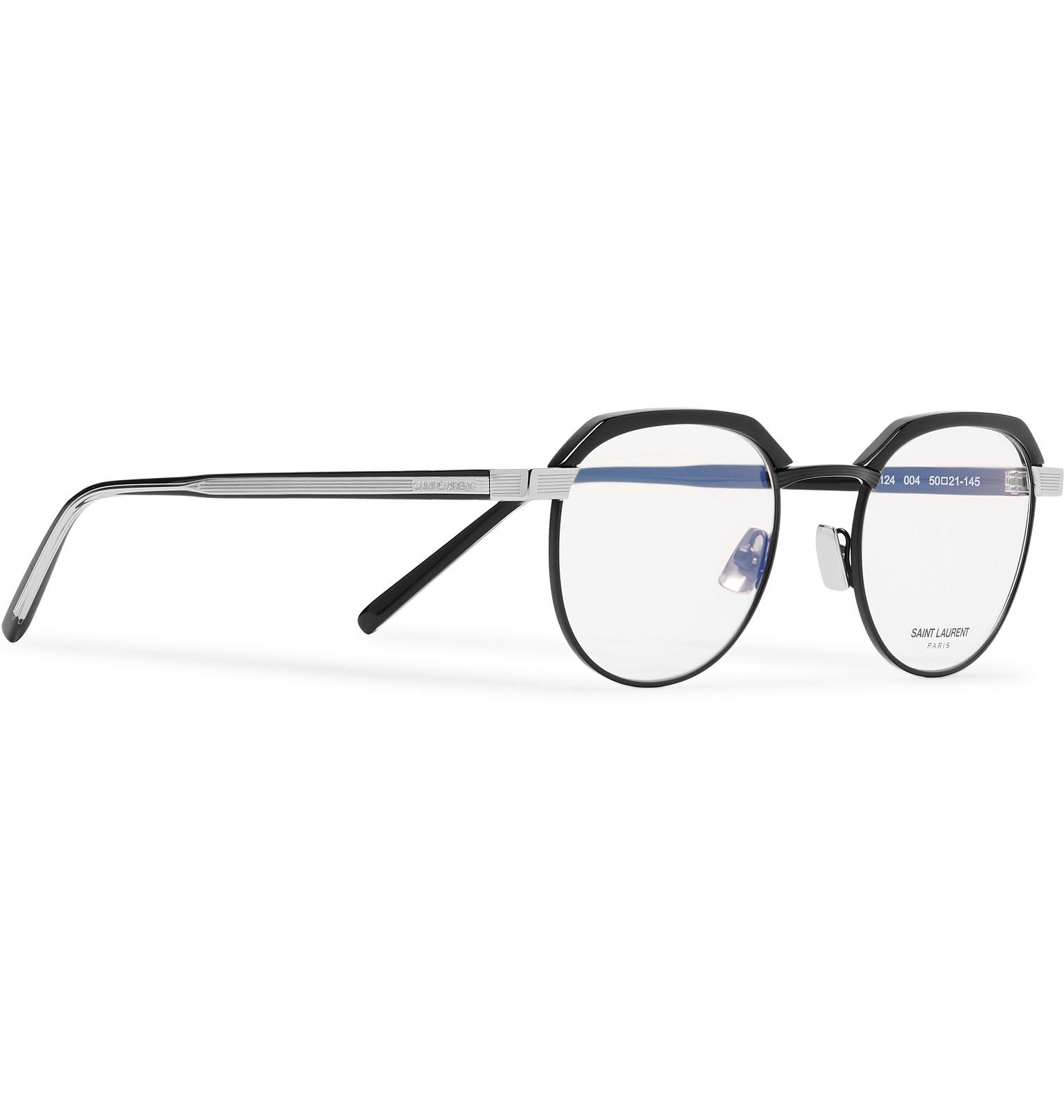 ff437d0105 Saint Laurent - Black Round-frame Acetate And Silver-tone Optical Glasses  for Men. View fullscreen