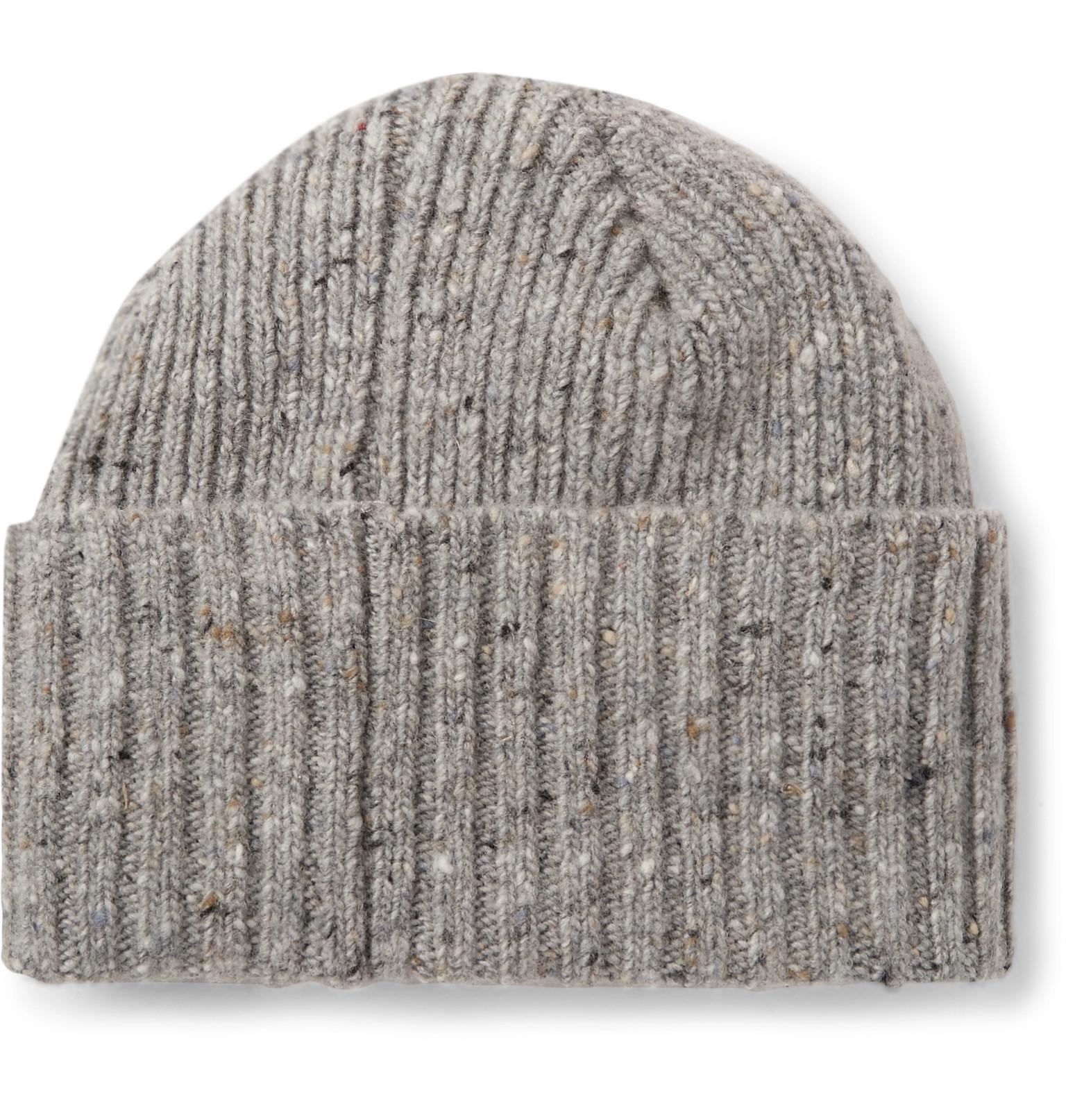 Drake s Ribbed Donegal Merino Wool Beanie in Gray for Men - Lyst aeaa39bec35b