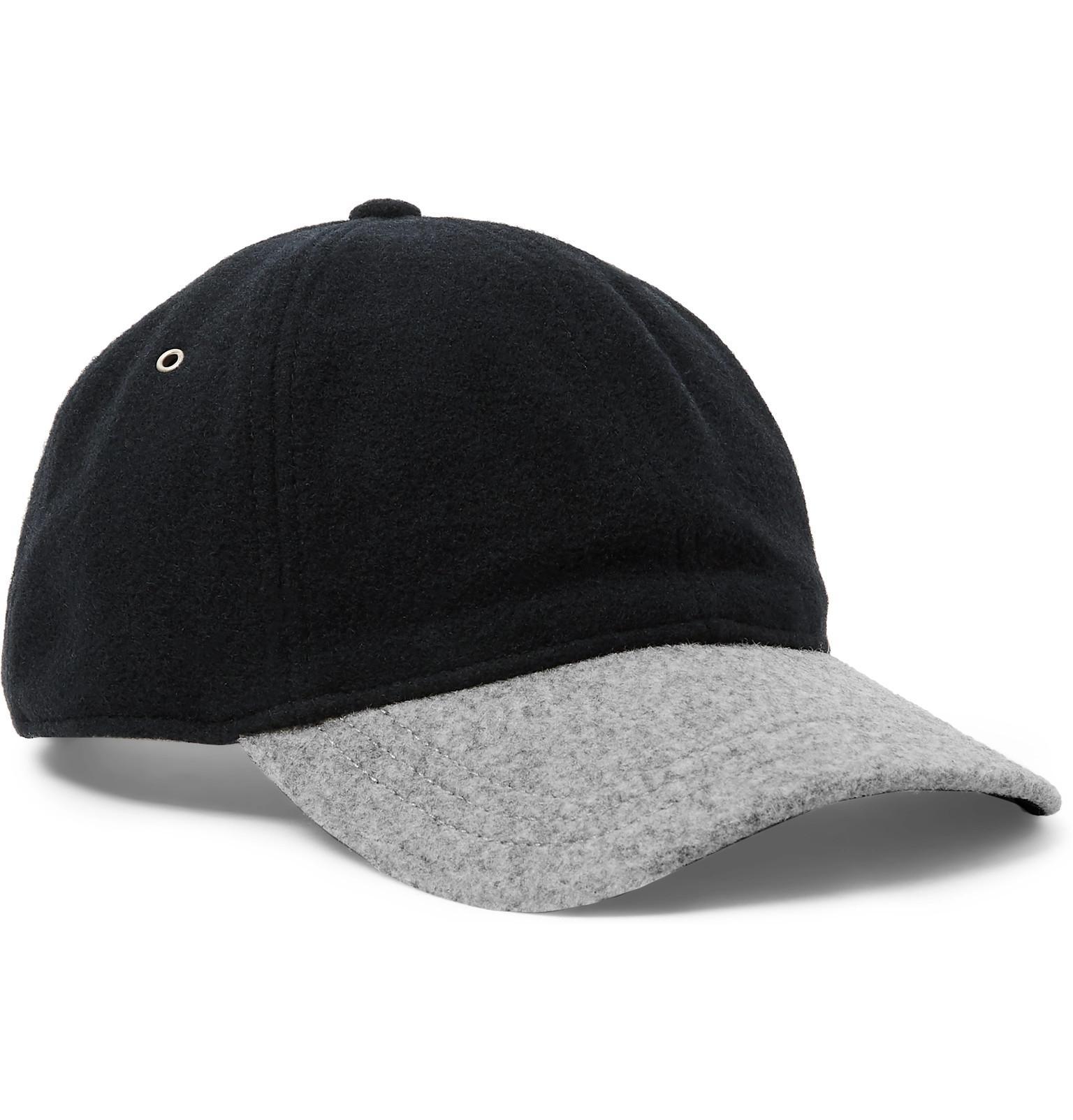 f0c3576977b Lyst - J.Crew Two-tone Melton Wool-blend Baseball Cap in Black for Men