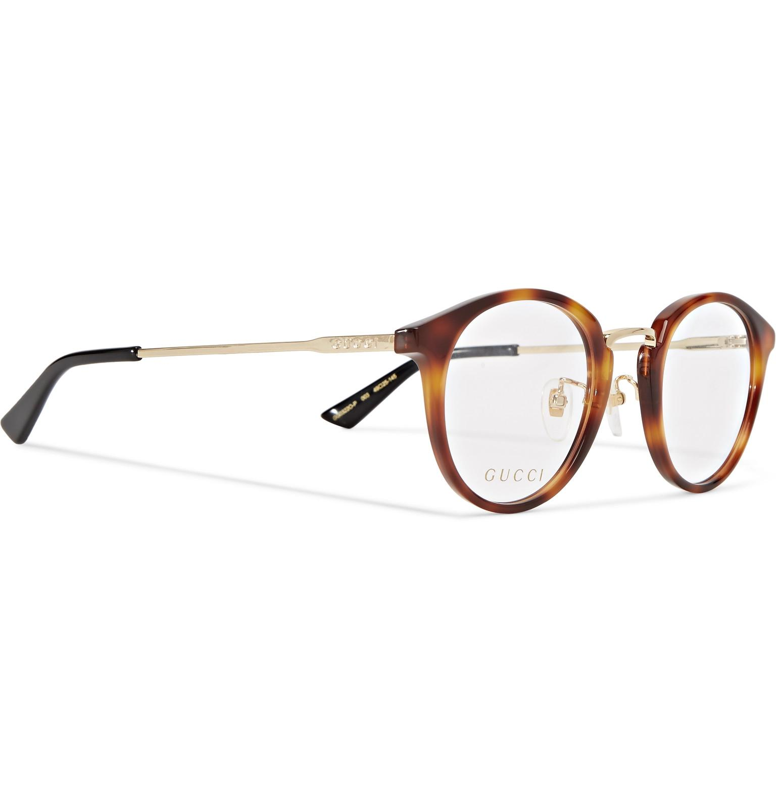 e0316493f11 Lyst - Gucci Round-frame Tortoiseshell Acetate And Gold-tone Optical ...