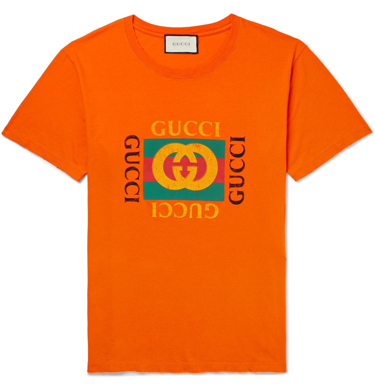 c29c0f7ffce Gucci Distressed Printed Cotton-jersey T-shirt in Orange for Men ...