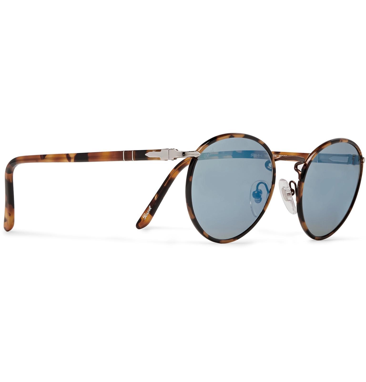 4e05e3dc6d99 Persol Round-frame Tortoiseshell Acetate Mirrored Sunglasses for Men ...