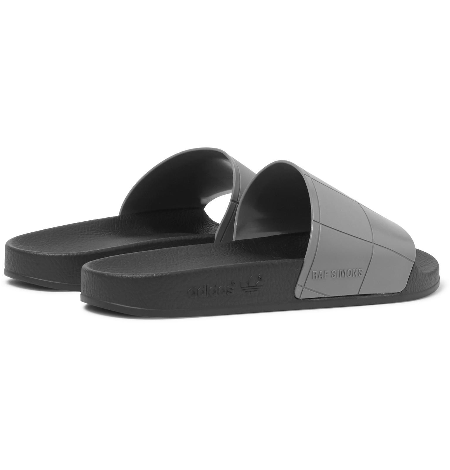 d1c3804a1 Lyst - Raf Simons + Adidas Originals Adilette Rubber Slides in Gray ...