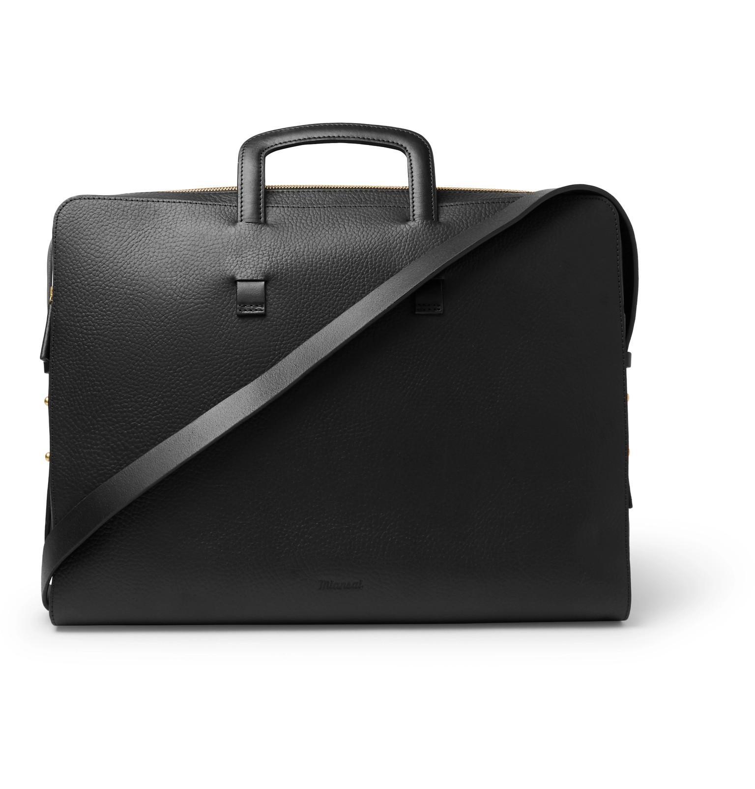 ca37956318 Miansai Slim Full-grain Leather Briefcase in Black for Men - Lyst