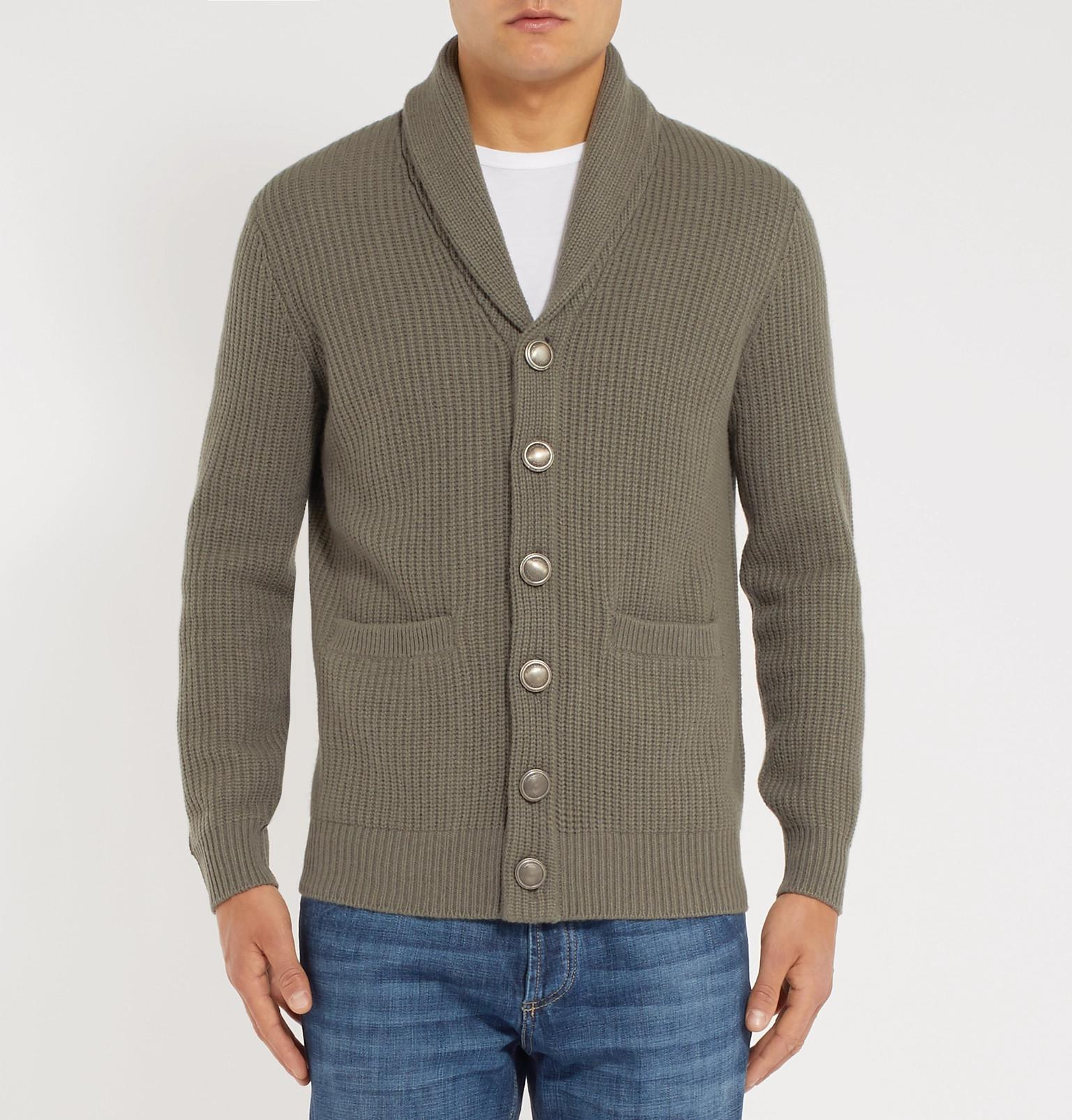 Brunello Cardigan Cashmere Collar And Green Fullscreen Wool Ribbed Cucinelli Shawl Blend Silk View vwvrqTf