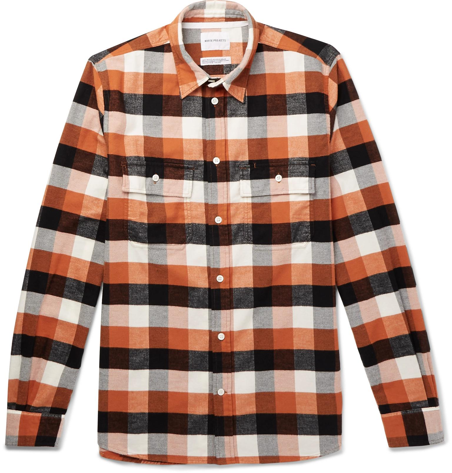 d7e8d7a2e Norse Projects Villads Checked Brushed Cotton-flannel Shirt in ...