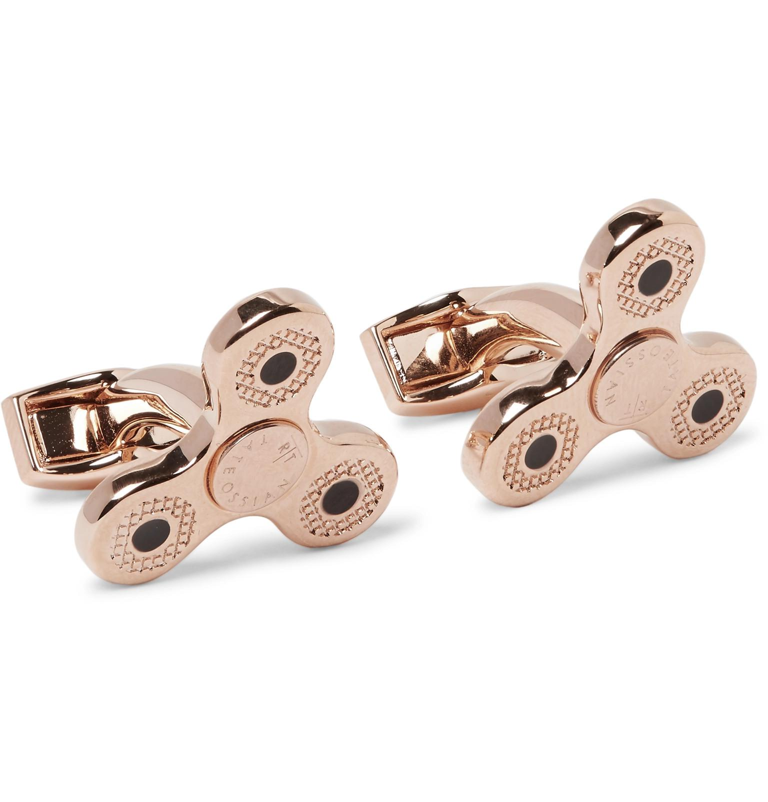 Tateossian Triptych Enamelled Rose Gold-plated Cufflinks - Rose gold GqMhjbwojs