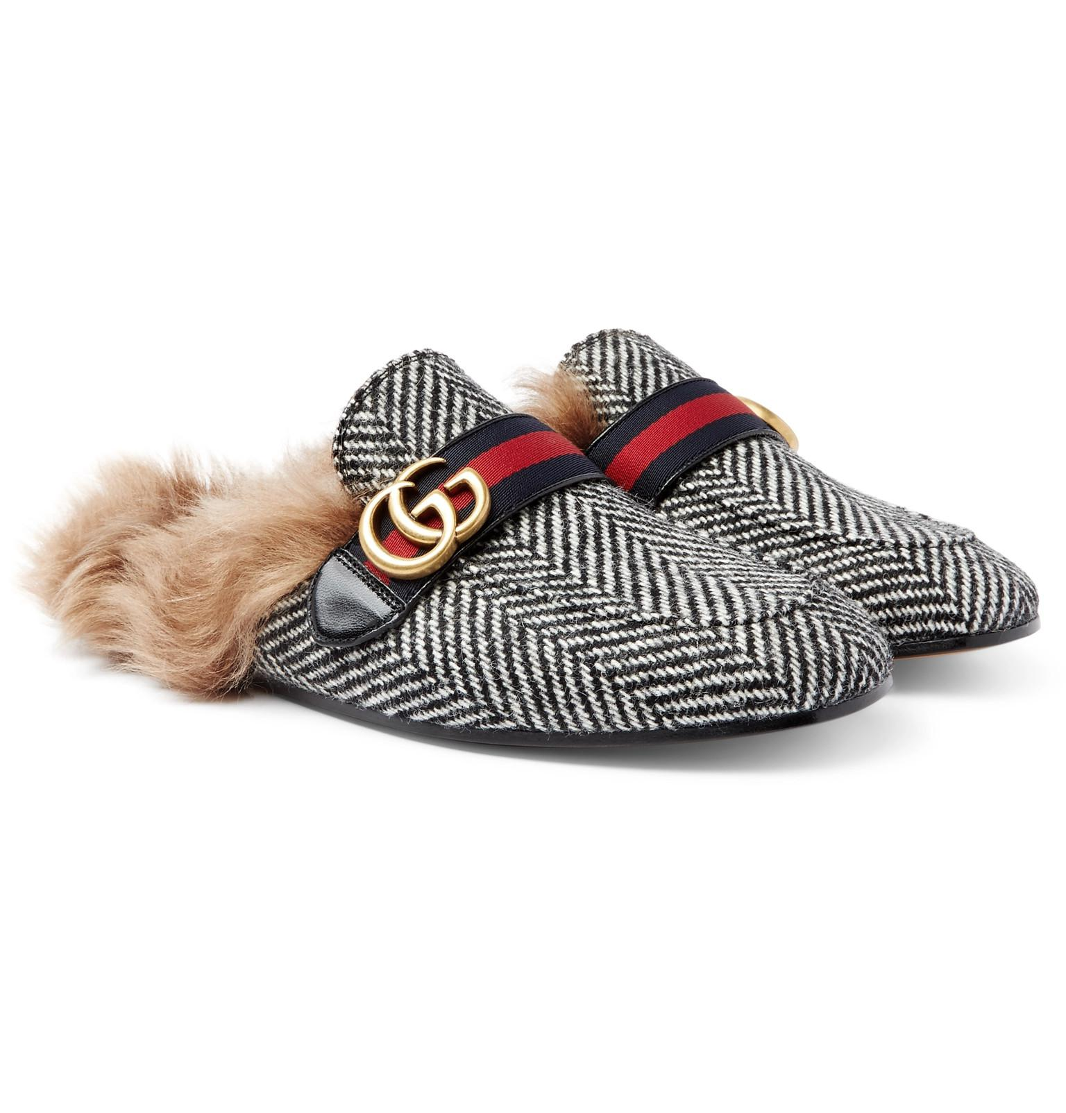 c04619cc1a6 Gucci Princetown Shearling-lined Herringbone Wool Backless Loafers ...