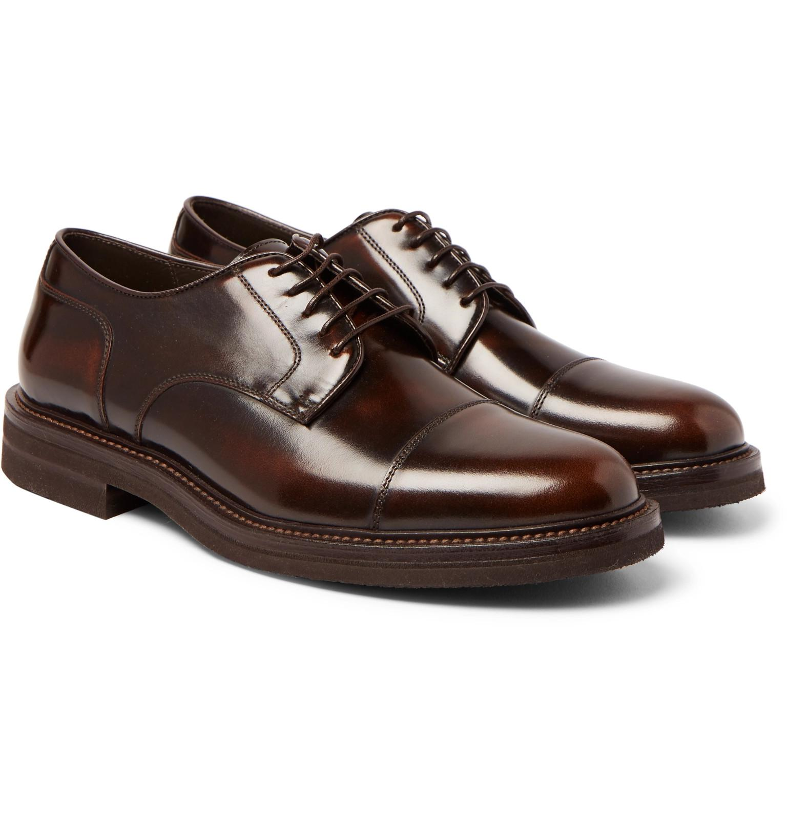 Burnished-leather Cap-toe Derby Shoes Brunello Cucinelli LDy7X