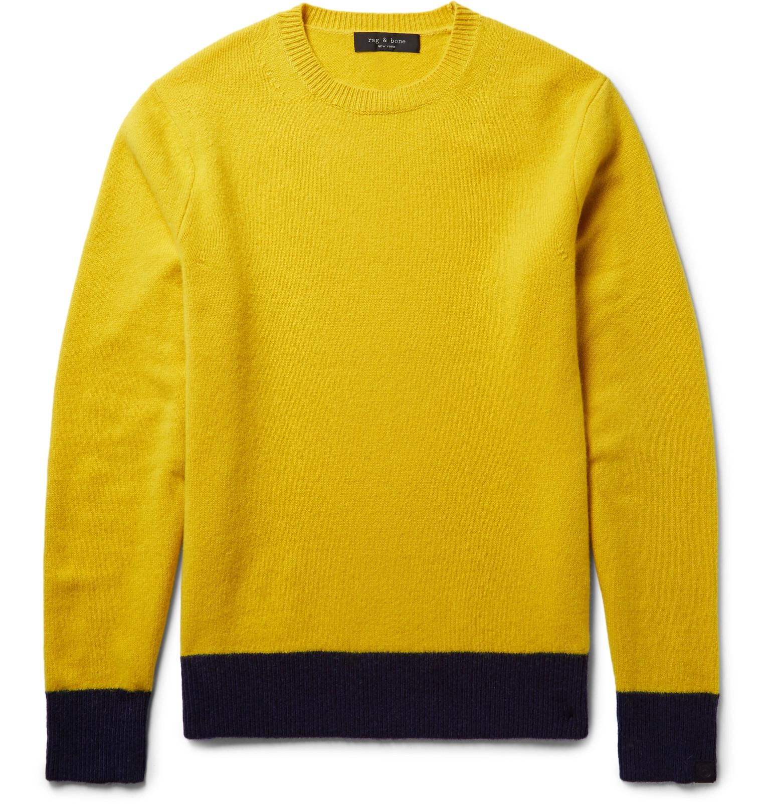 RAG&BONE Two-tone Shetland Wool-blend Sweater - Marigold zMY8j