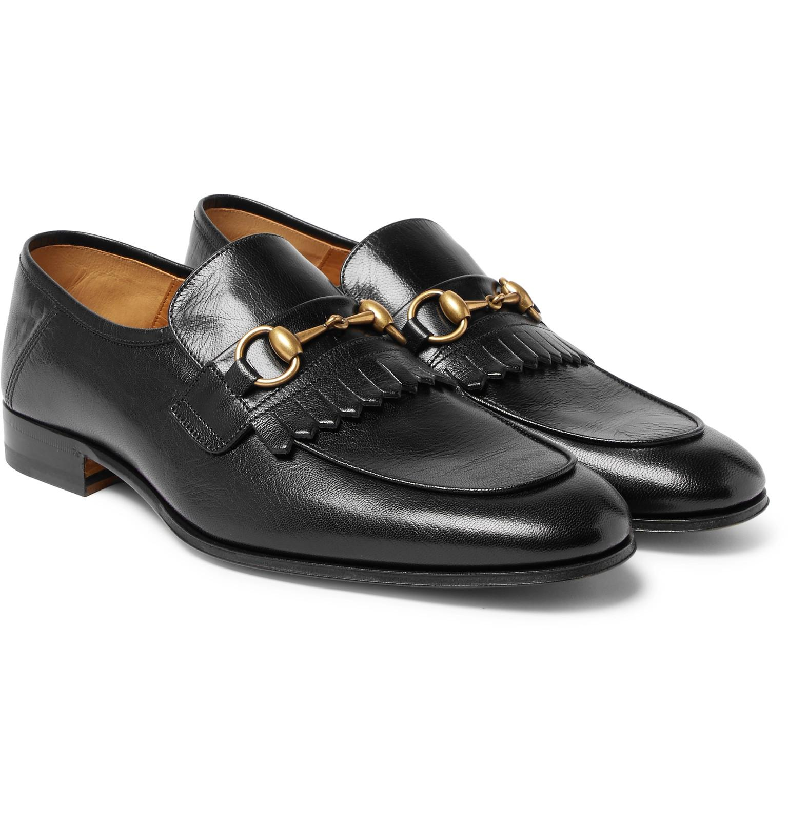 d0d0e6dd6a0 Gucci Harbor Horsebit Fringed Leather Loafers in Black for Men - Lyst