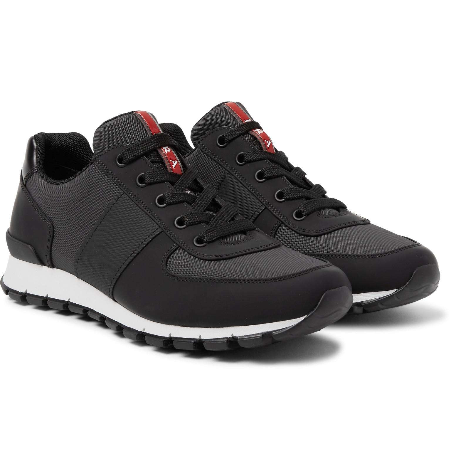 Prada Match Race Panelled Rubber, Mesh and Leather Sneakers