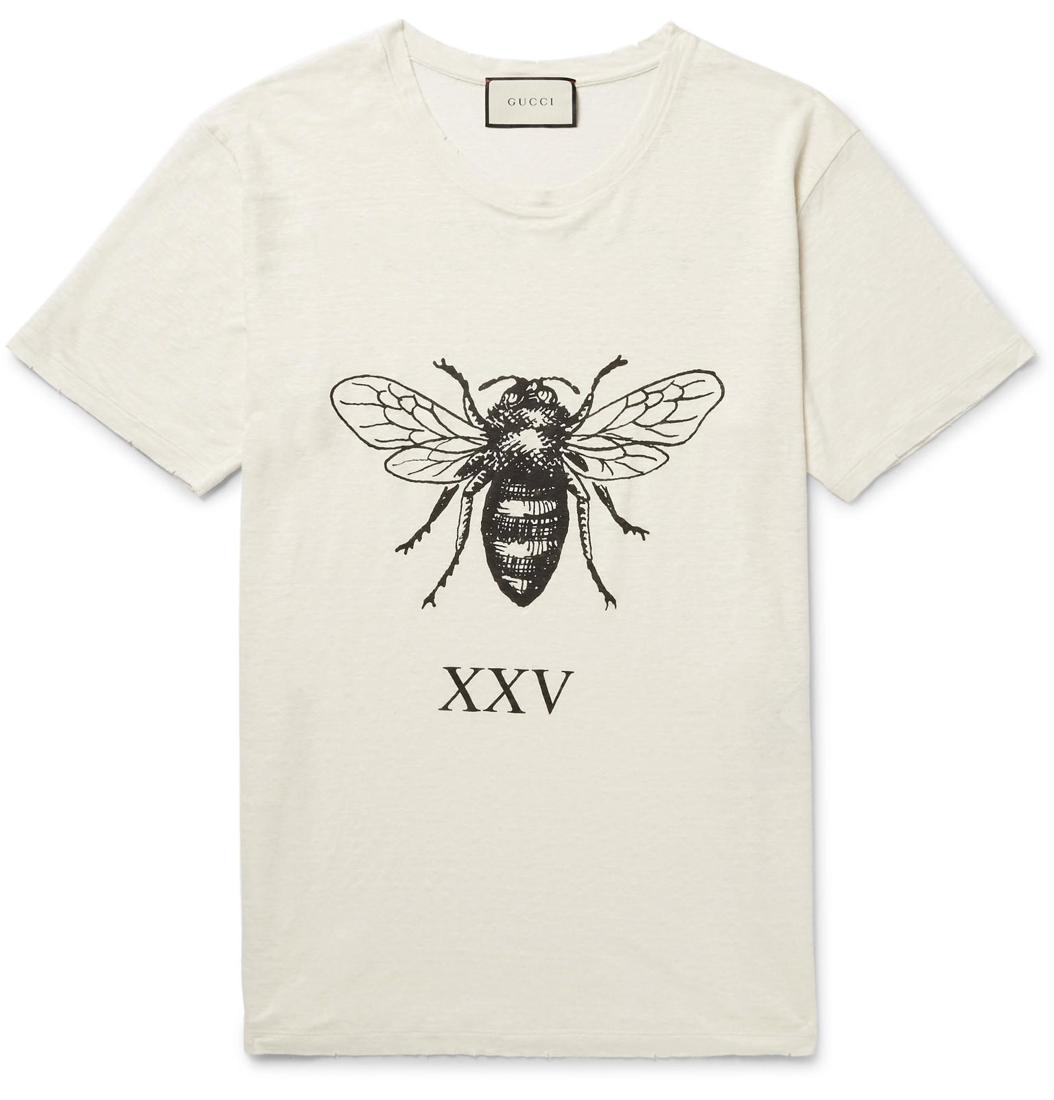 04829bee Gucci Distressed Printed Slub Linen T-shirt in White for Men - Lyst