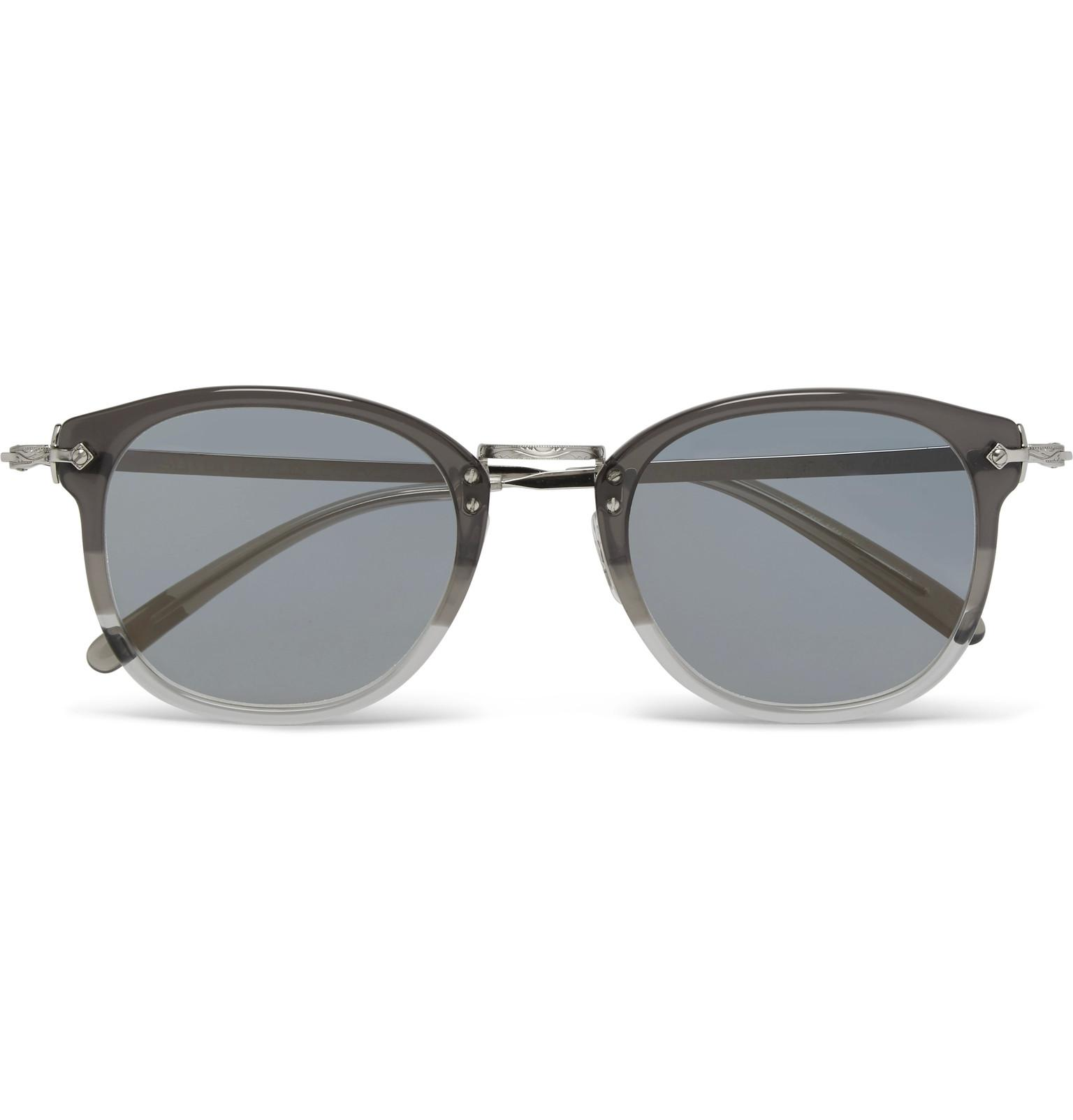 dc223269f6 Lyst - Oliver Peoples Round-frame Two-tone Acetate And Silver-tone ...