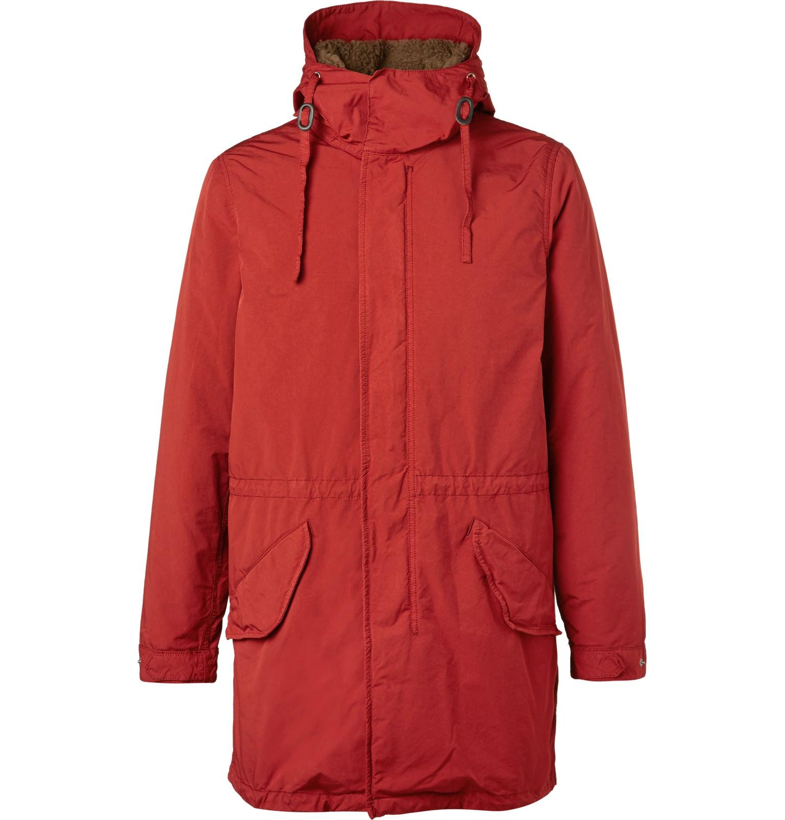 Faux In Lyst Shearling Red Parka Aspesi Lined Shell Men For Hooded qw67Zw