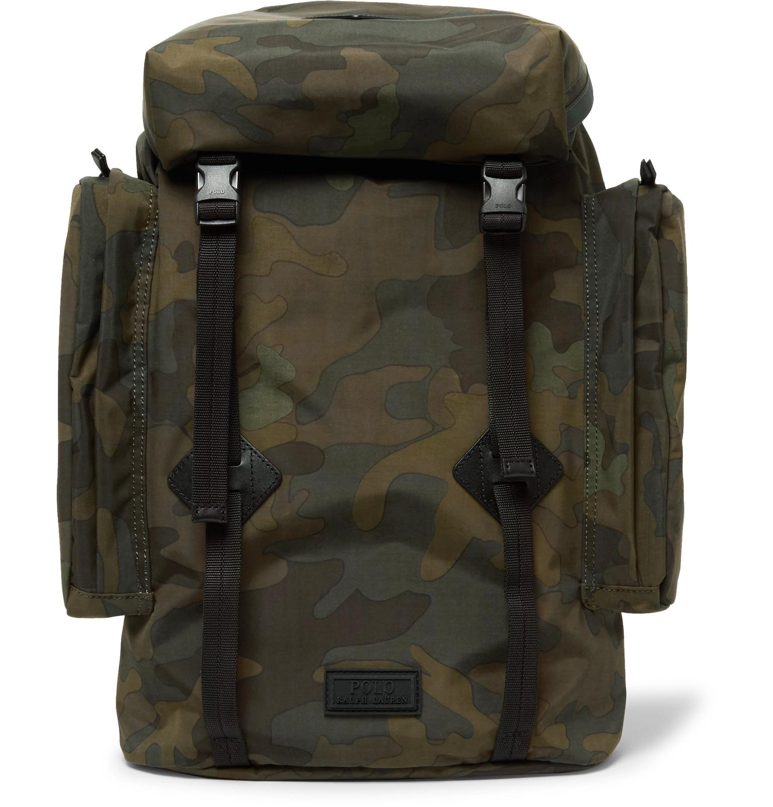 92b36023c4 Polo Ralph Lauren Leather-trimmed Camouflage-print Canvas Backpack ...