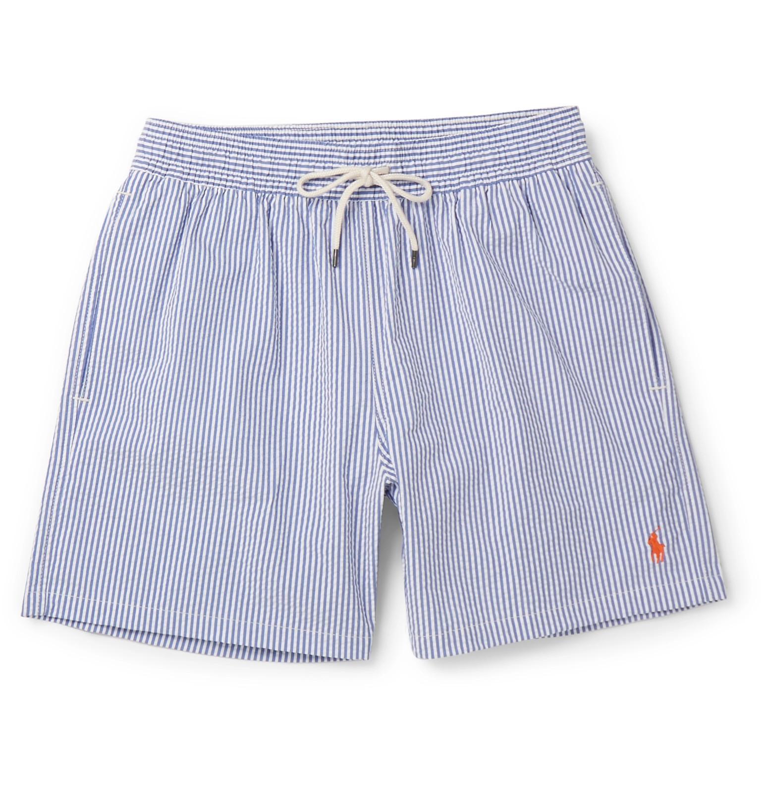 Polo Ralph Lauren. Men's Blue Mid-length Striped Cotton-blend Seersucker Swim  Shorts