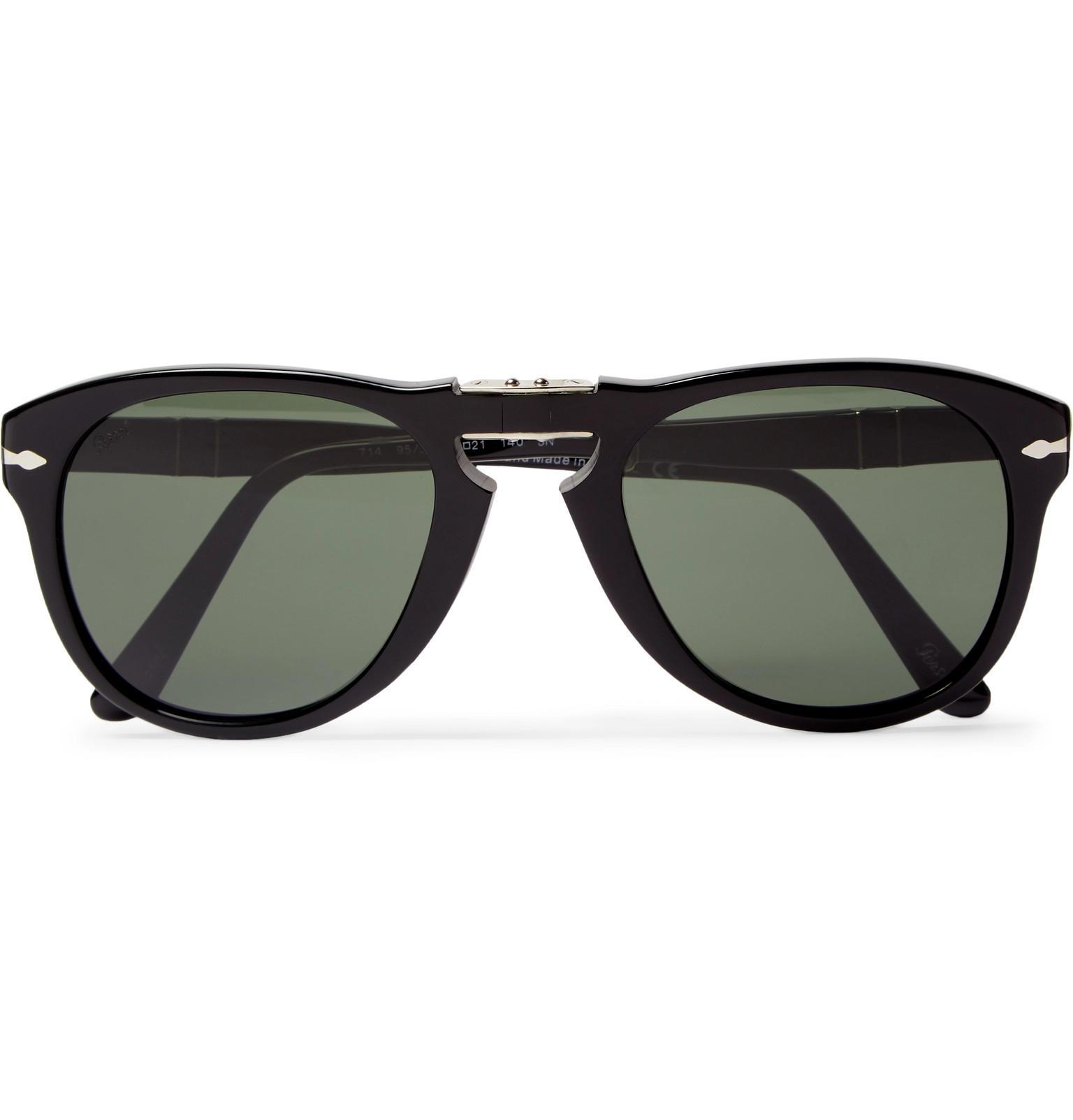 0fc4431f3d Persol 714 Folding D-frame Acetate Sunglasses in Black for Men - Lyst