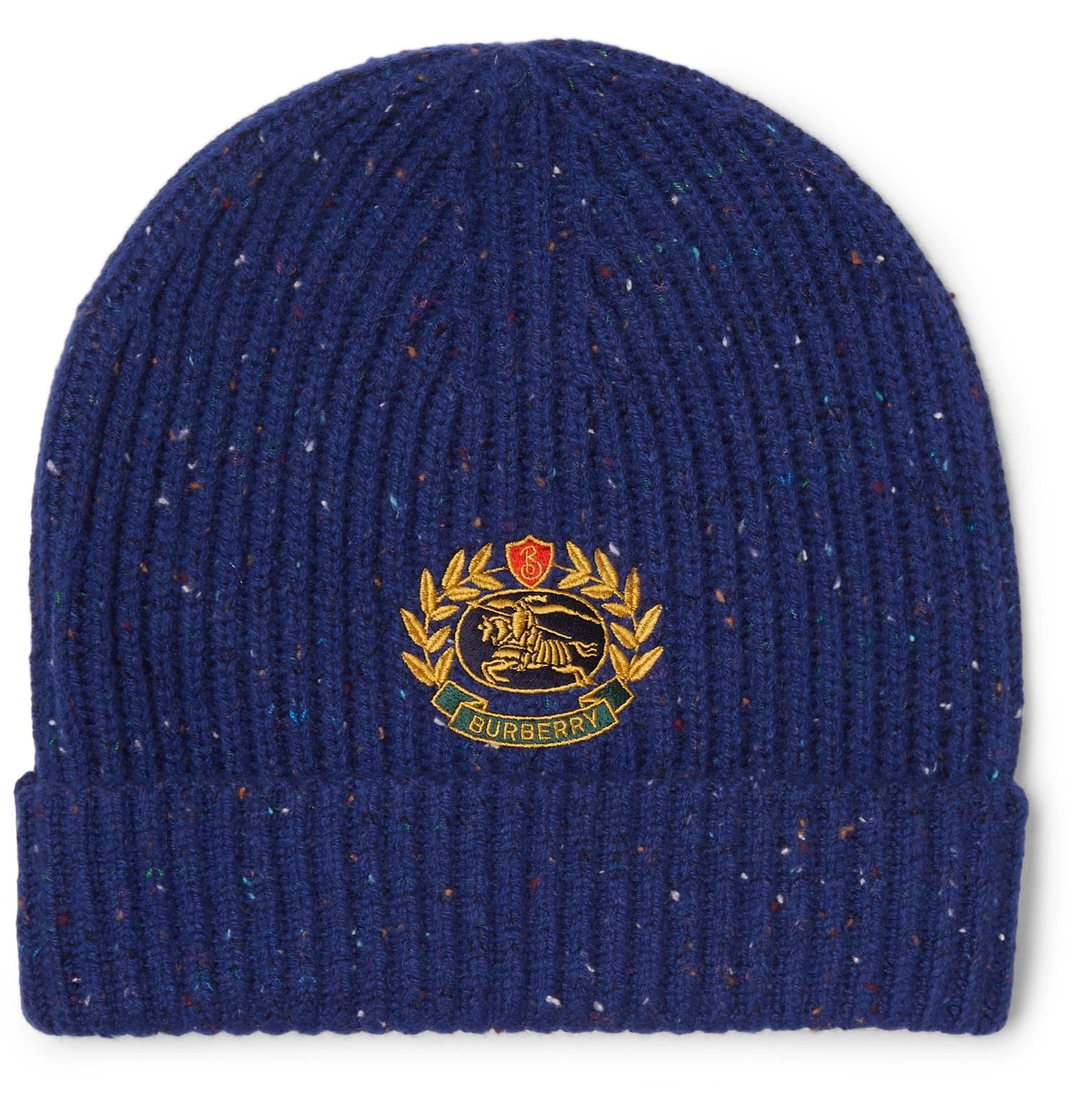d48d734e2ce Burberry Logo-embroidered Ribbed Wool-blend Beanie in Blue for Men ...
