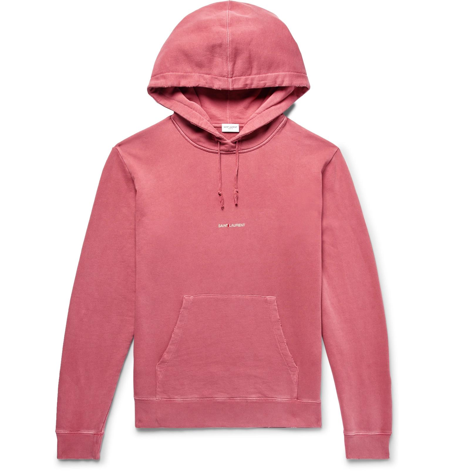Distressed Cotton Pink Print Fullscreen Jersey Logo Loopback Men Hoodie View Saint Laurent For 5BYpqwtI
