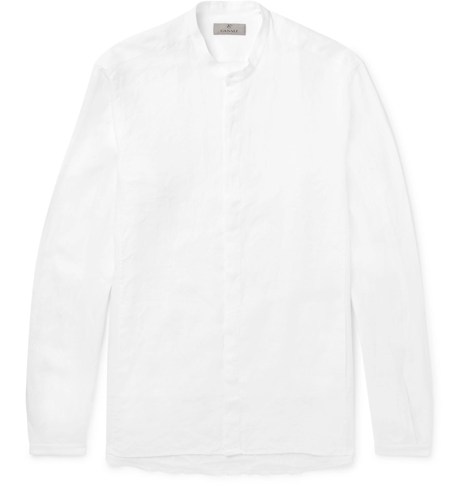 CANALI Grandad-collar Linen Shirt - White Explorer À Vendre URtA7t
