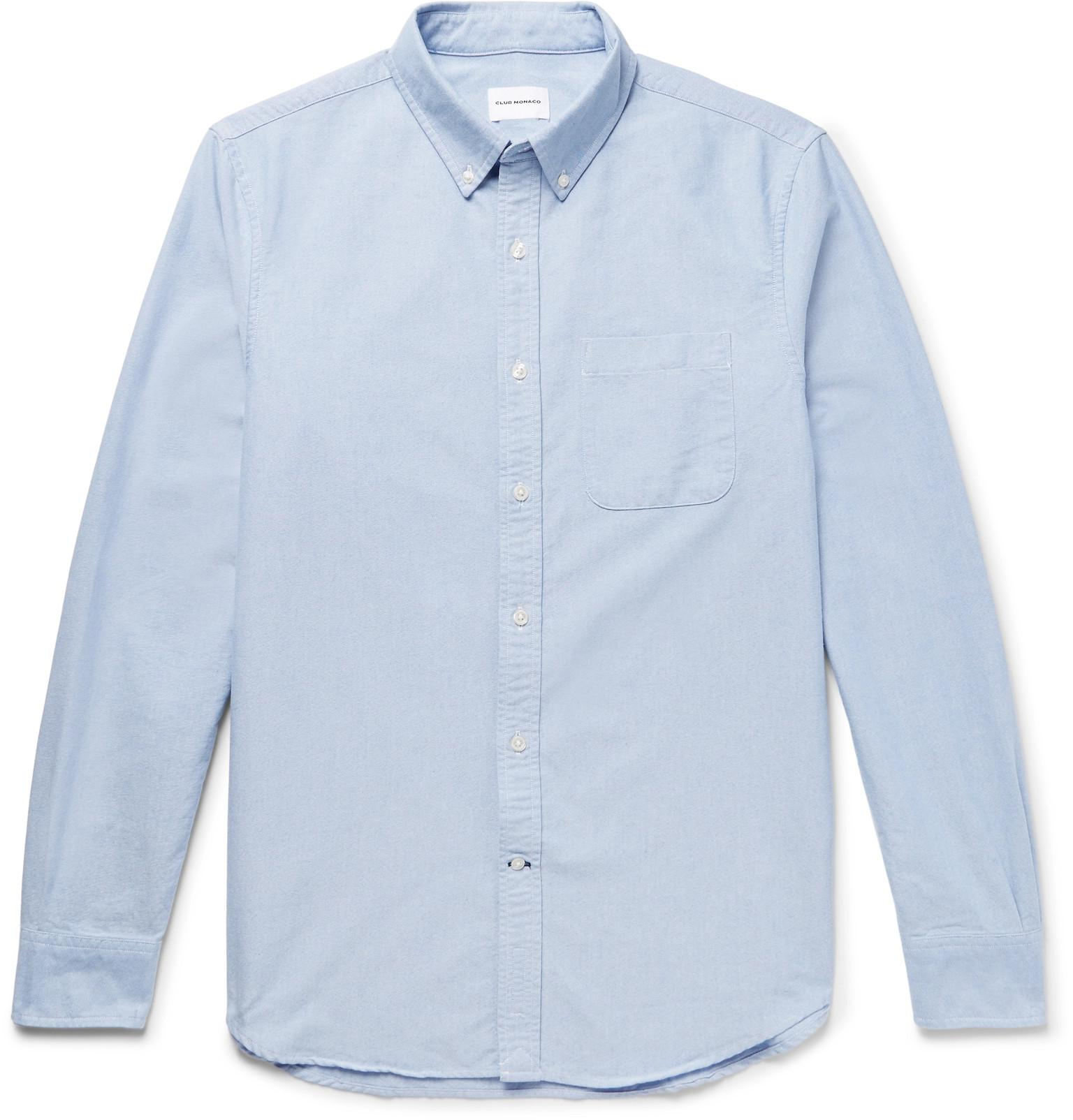 51faad229df Club Monaco - Blue Button-down Collar Cotton Oxford Shirt for Men - Lyst.  View fullscreen