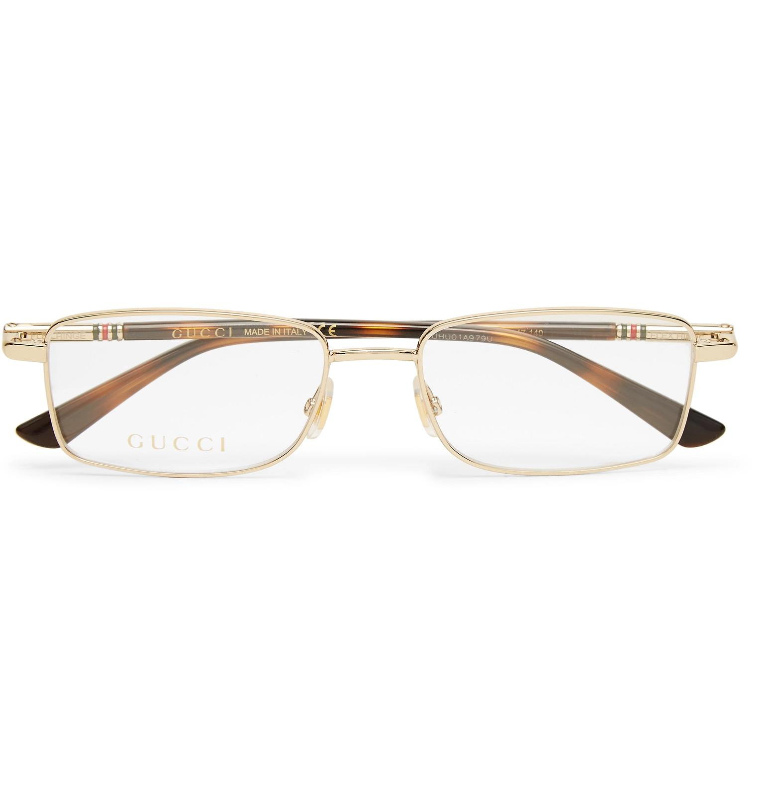 47bb040170ad1 Gucci - Metallic Square-frame Gold-tone Optical Glasses for Men - Lyst.  View fullscreen