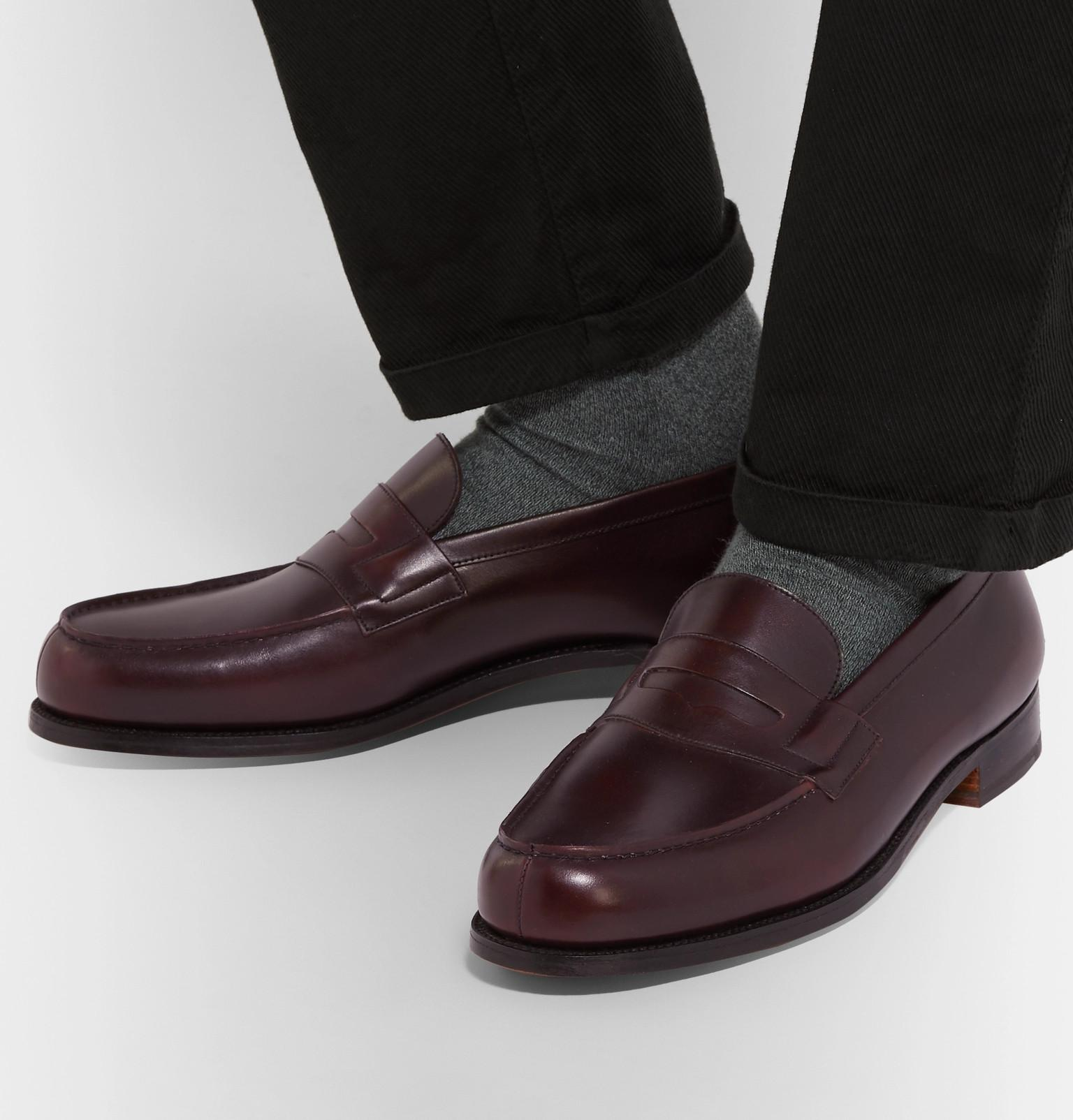 29df641a544 J.M. Weston - Purple 180 The Moccasin Burnished-leather Penny Loafers for  Men - Lyst. View fullscreen