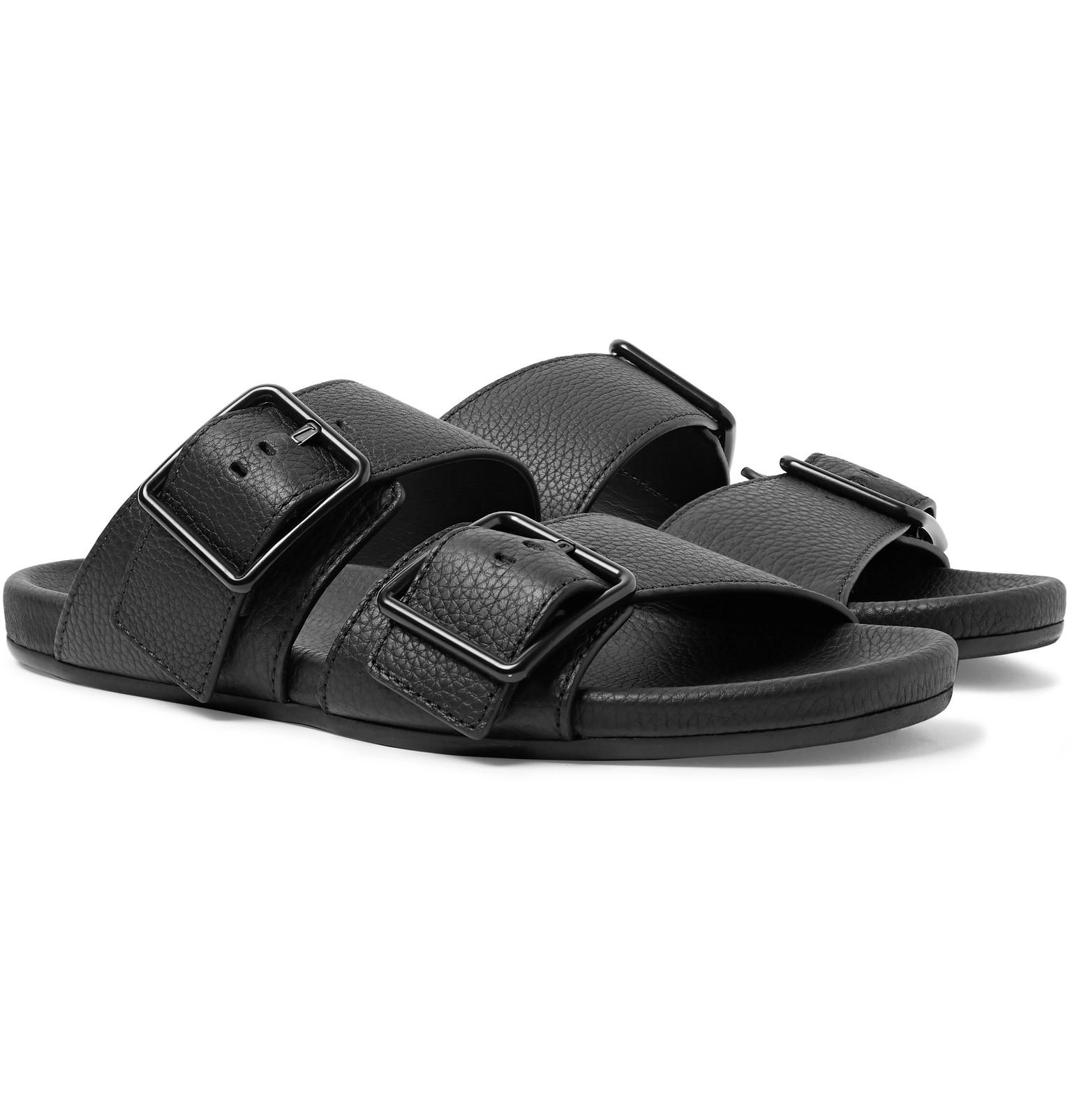 305265a208e0 Lyst - Lanvin Grained Leather Slides in Black for Men