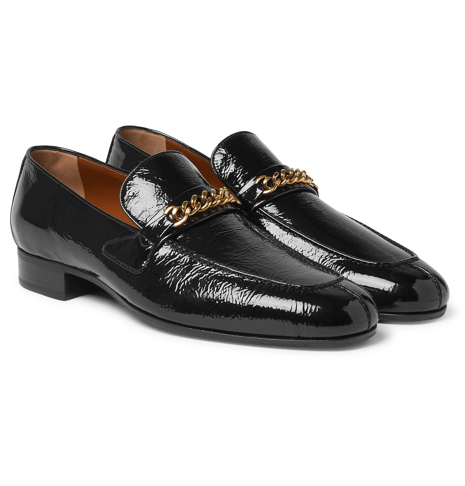 fa5e589232cb Tom Ford Peer Chain-trimmed Textured Patent-leather Loafers in Black ...