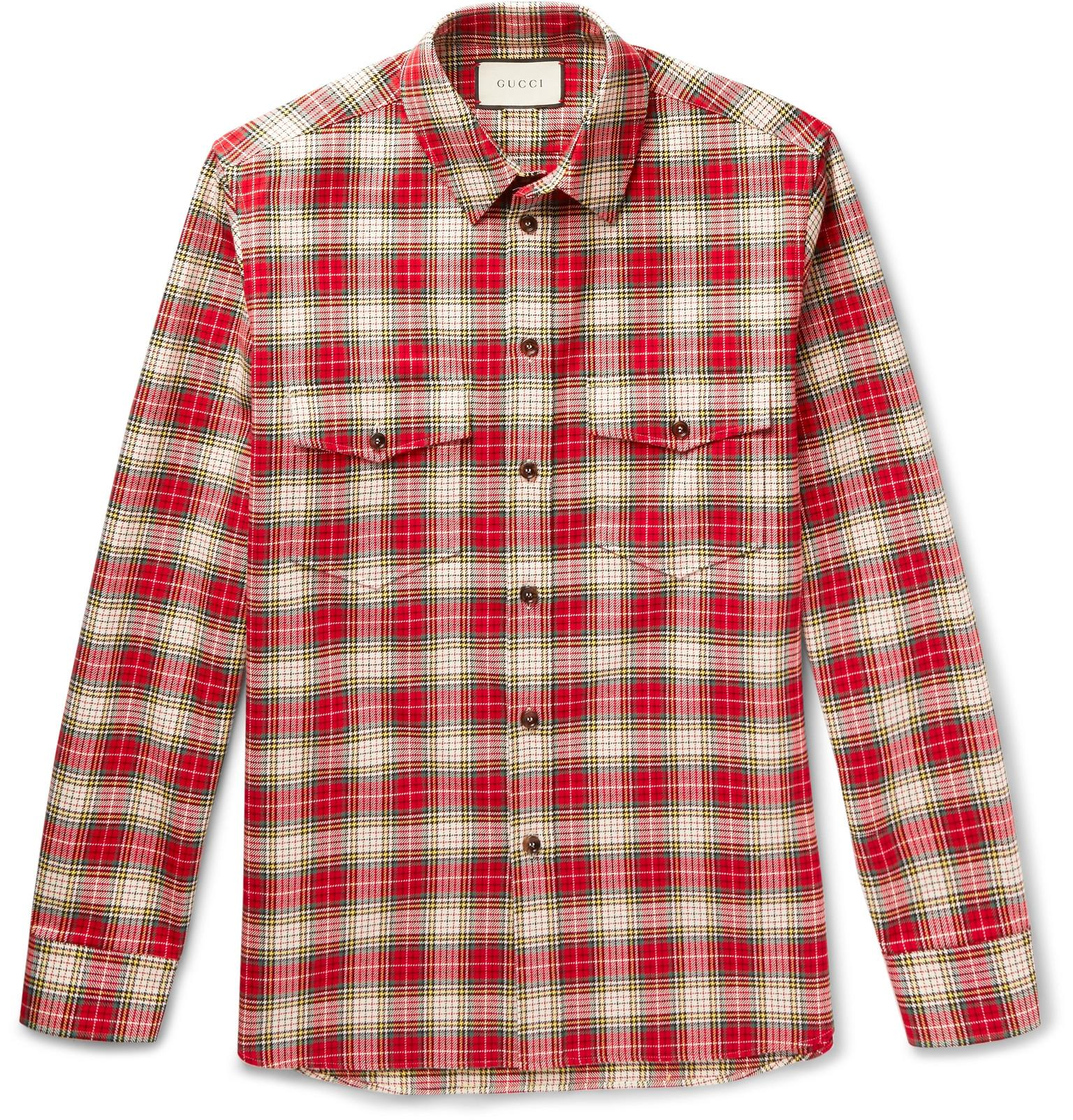 17c537126 Gucci Embroidered Checked Cotton-twill Shirt in Red for Men - Lyst