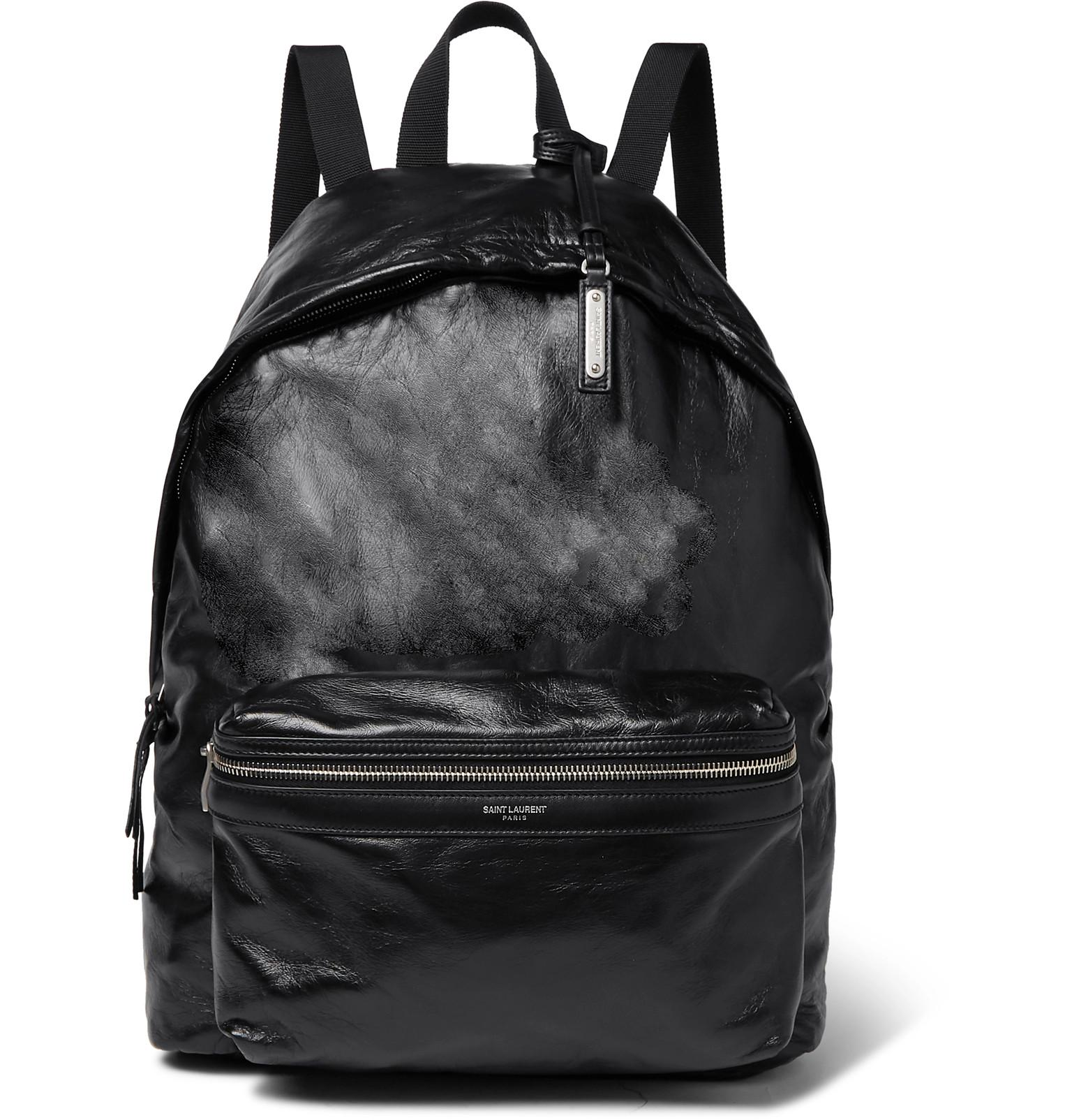 b9f058e1abc50 Saint Laurent Polished Textured-leather Backpack in Black for Men - Lyst
