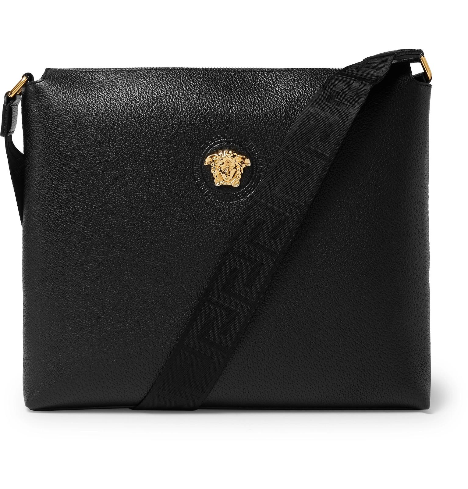 Lyst - Versace Logo-detailed Full-grain Leather Messenger Bag in ... 5dccca5515c56