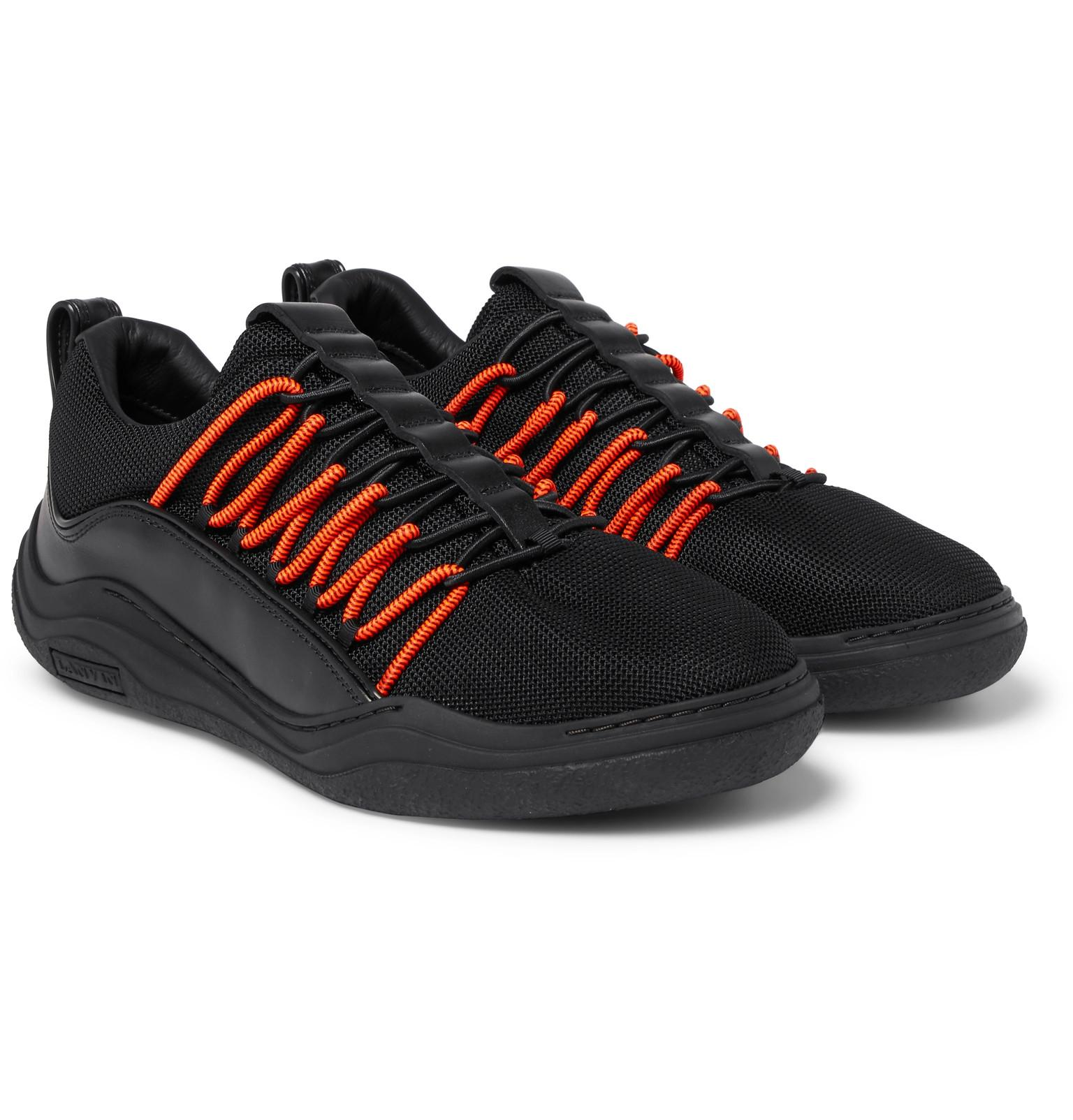 Leather-trimmed Mesh Sneakers Lanvin FiKRCd5A