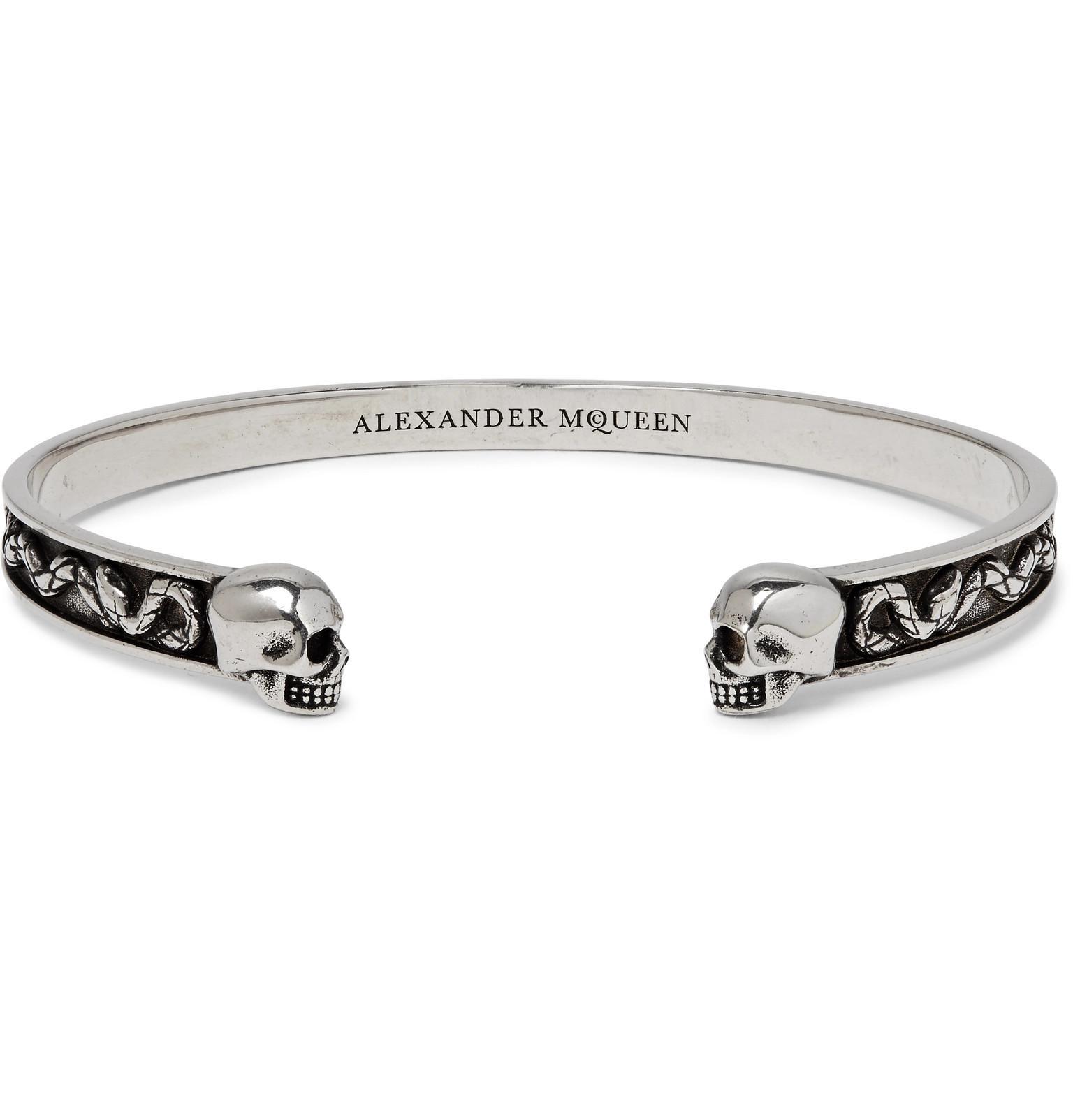 Alexander McQueen Skull Burnished Silver-tone Cuff - Silver AFDDyew7w
