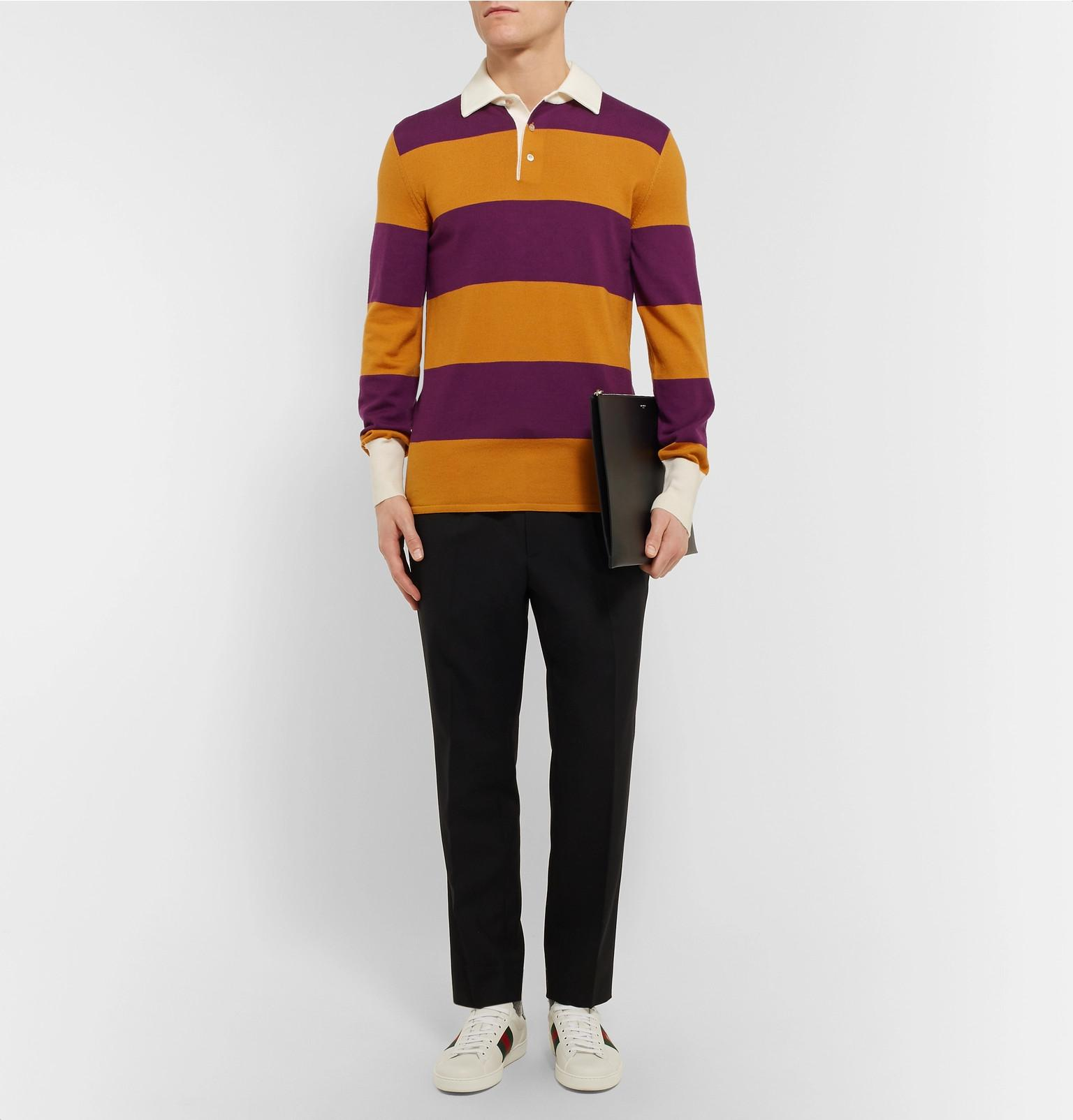 34be86cd1a3 ... Gucci - Purple Embroidered Striped Wool Rugby Shirt for Men - Lyst.  Visit MR PORTER. Tap to visit site