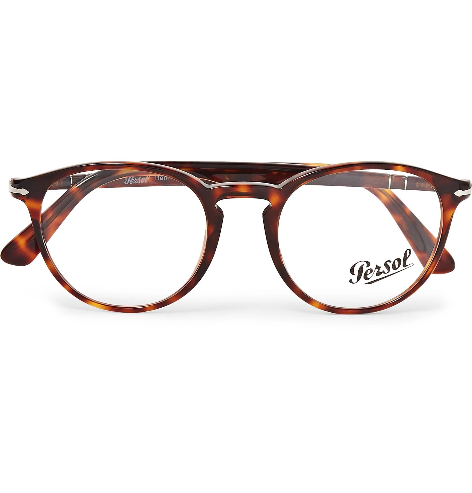 83d1391f18 Lyst - Persol Round-frame Tortoiseshell Acetate Optical Glasses in ...