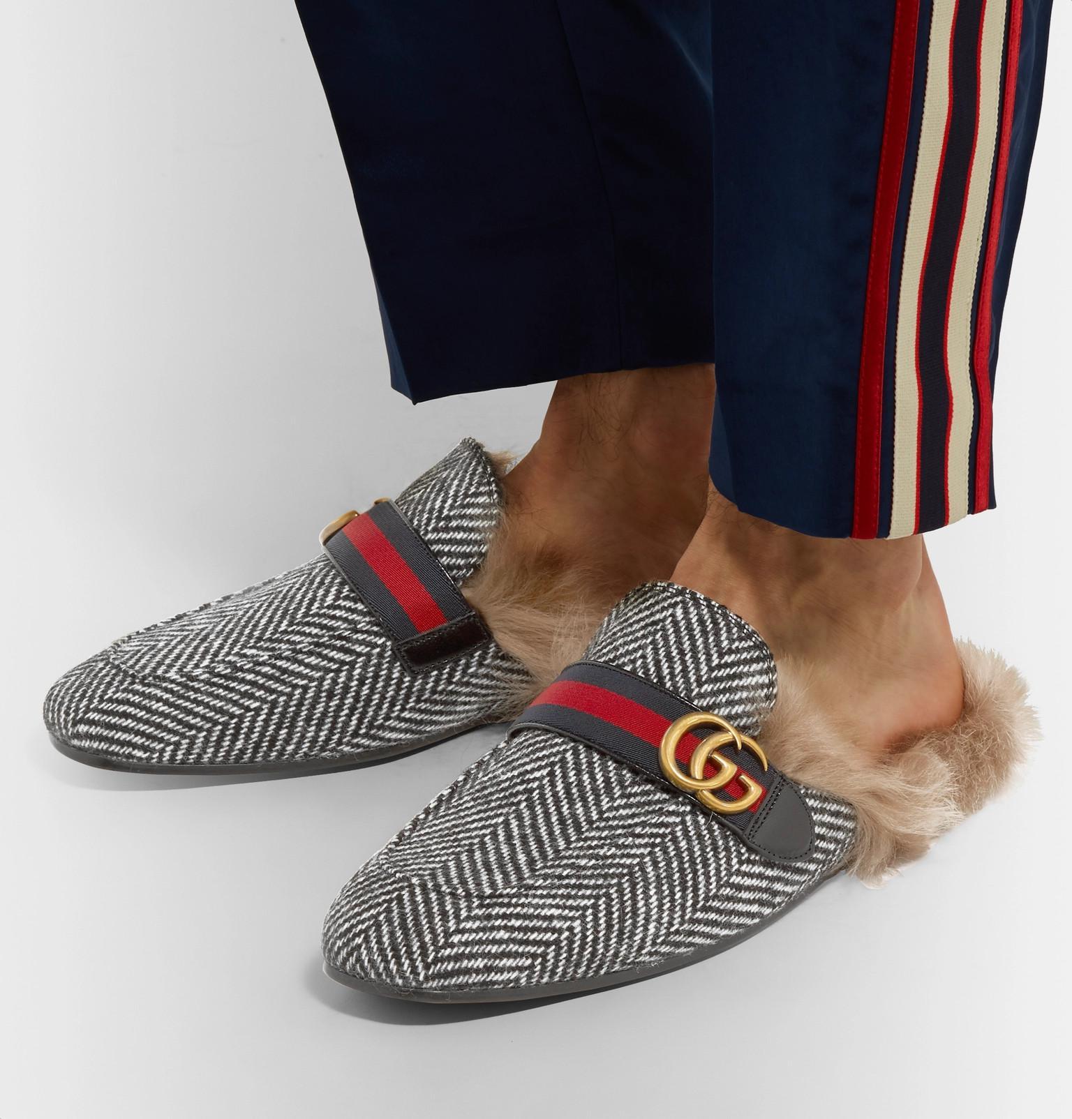 dd20fcf4b3b Gucci Princetown Shearling-lined Herringbone Wool Backless Loafers ...